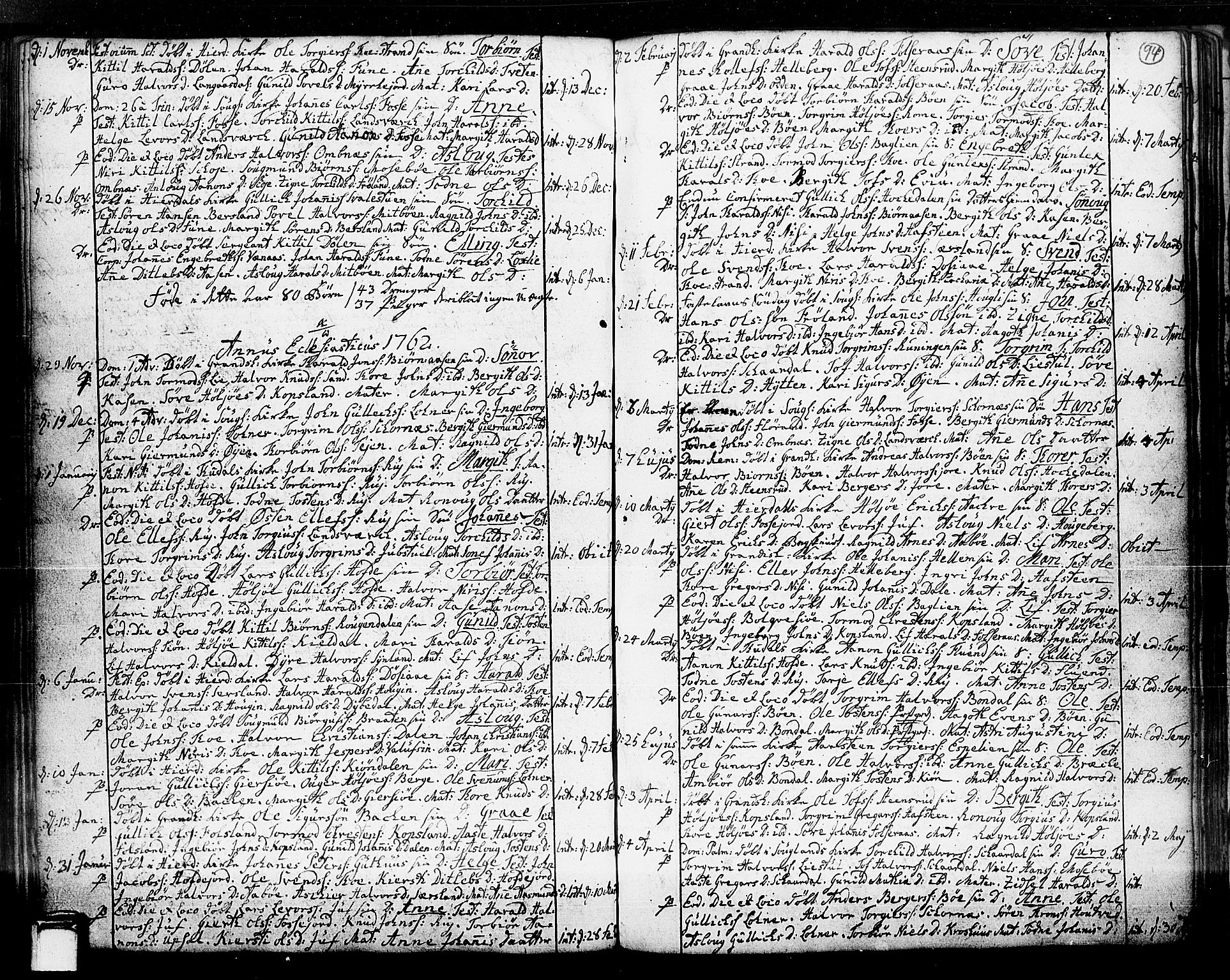 SAKO, Hjartdal kirkebøker, F/Fa/L0003: Ministerialbok nr. I 3, 1727-1775, s. 94