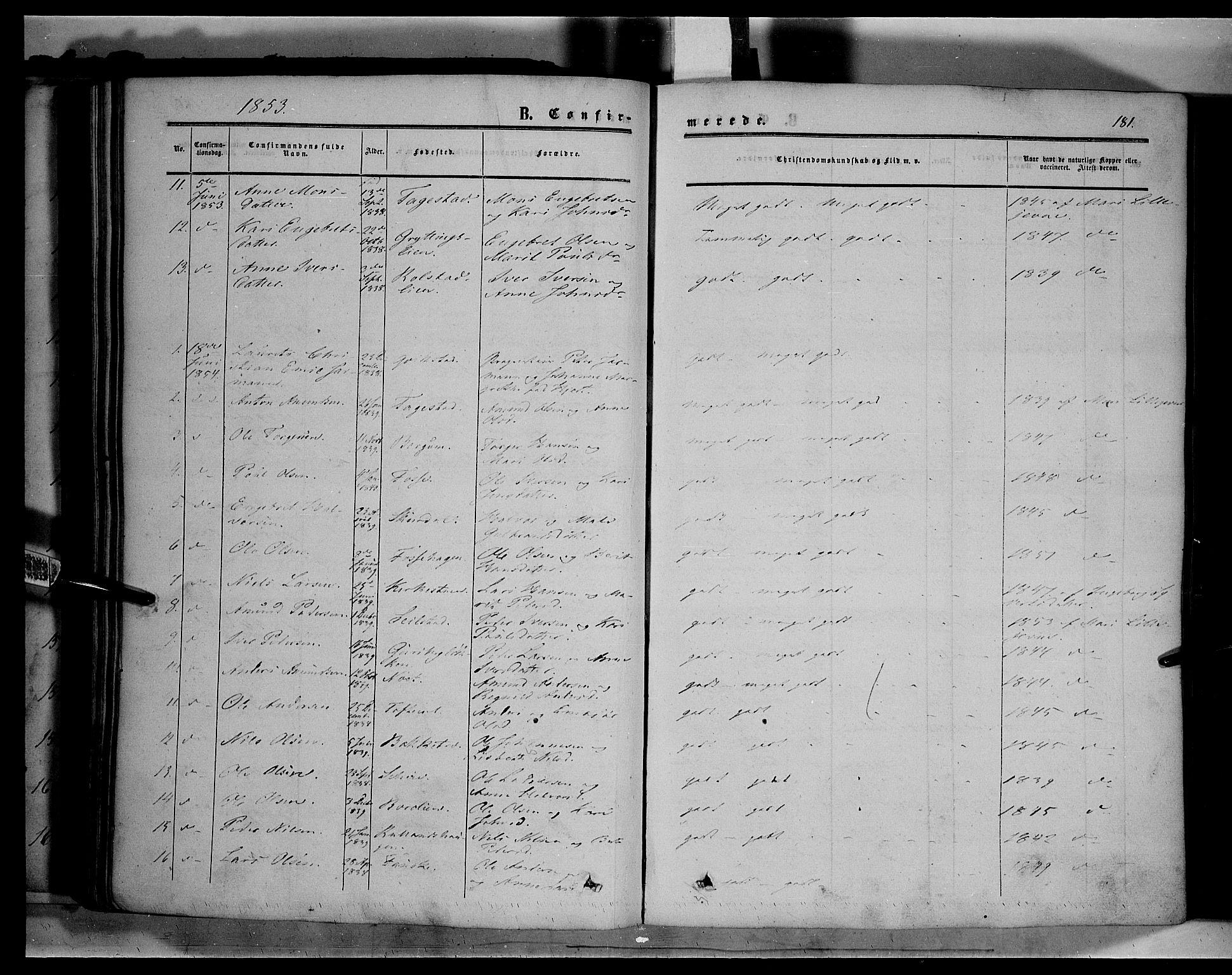 SAH, Sør-Fron prestekontor, H/Ha/Haa/L0001: Ministerialbok nr. 1, 1849-1863, s. 181