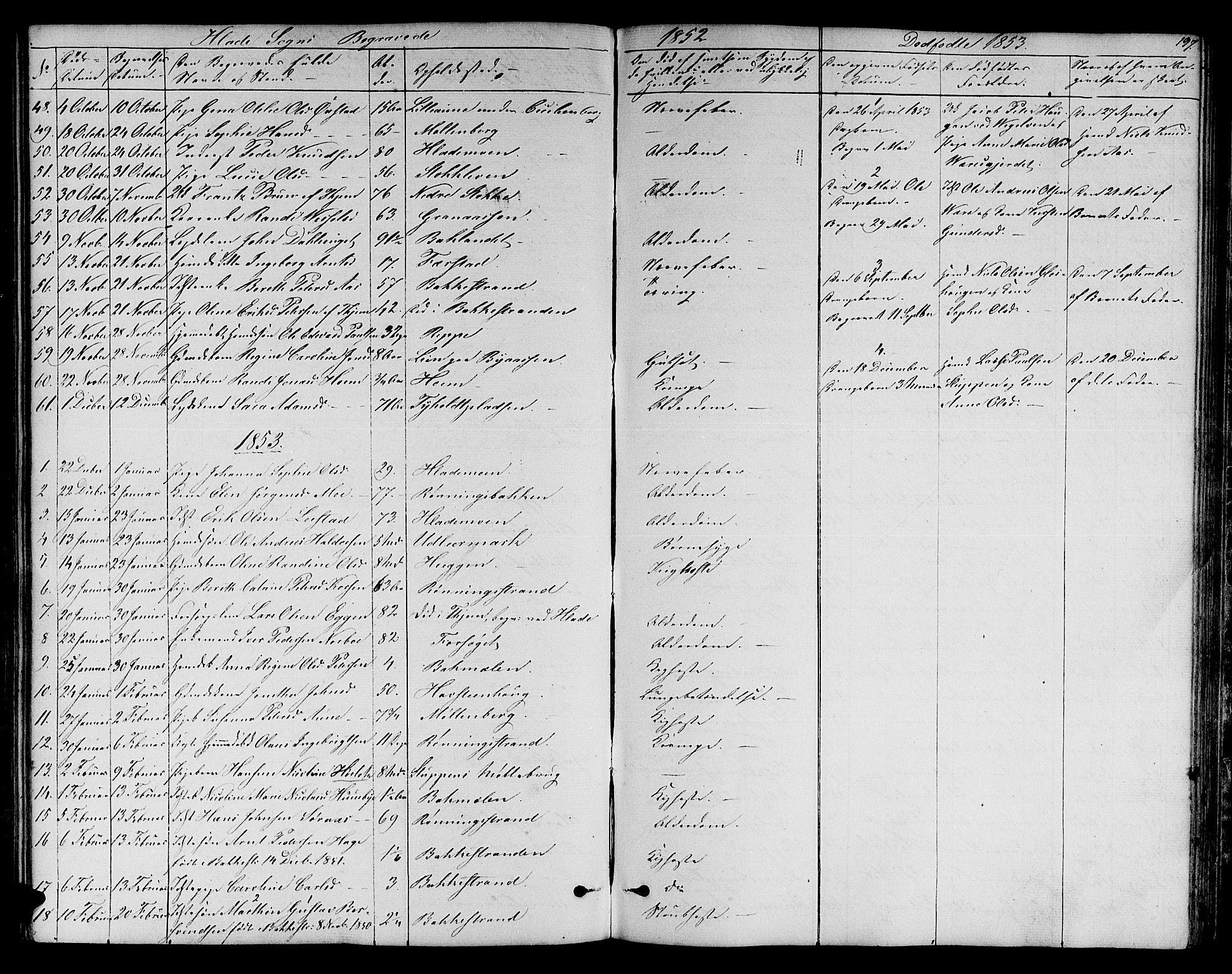SAT, Ministerialprotokoller, klokkerbøker og fødselsregistre - Sør-Trøndelag, 606/L0310: Klokkerbok nr. 606C06, 1850-1859, s. 197