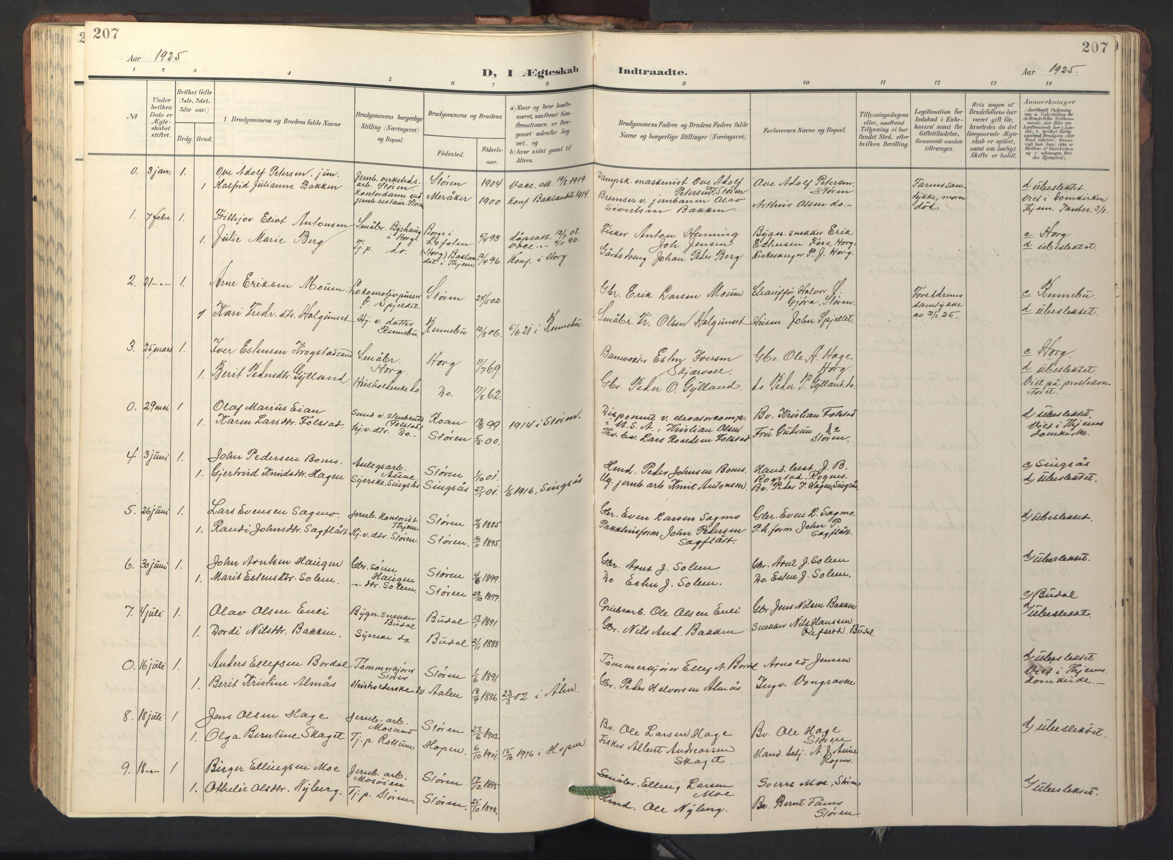 SAT, Ministerialprotokoller, klokkerbøker og fødselsregistre - Sør-Trøndelag, 687/L1019: Klokkerbok nr. 687C03, 1904-1931, s. 207