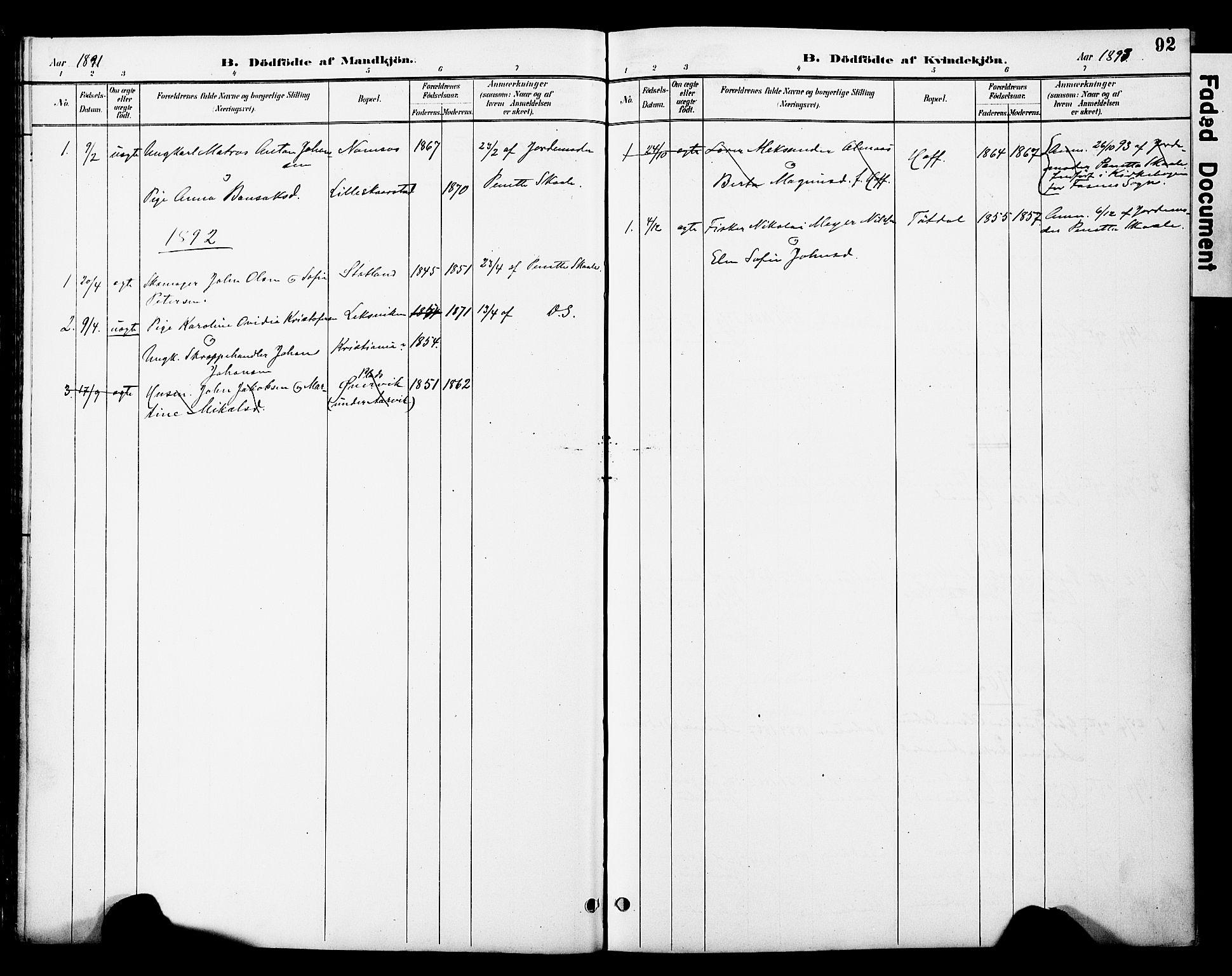 SAT, Ministerialprotokoller, klokkerbøker og fødselsregistre - Nord-Trøndelag, 774/L0628: Ministerialbok nr. 774A02, 1887-1903, s. 92
