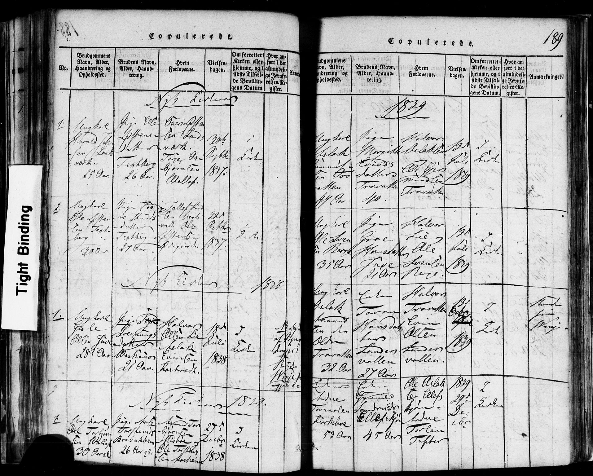 SAKO, Rauland kirkebøker, F/Fa/L0002: Ministerialbok nr. 2, 1815-1860, s. 189