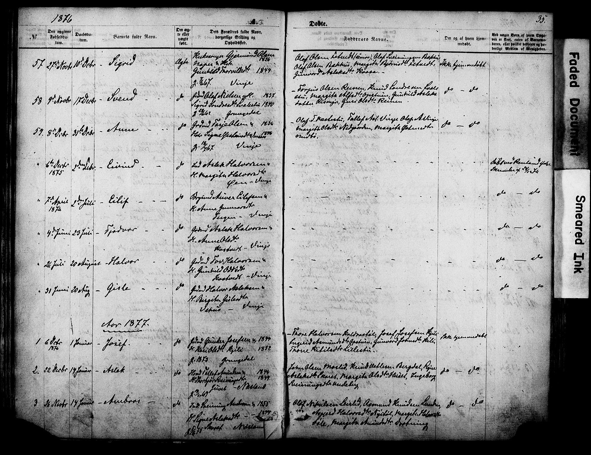 SAKO, Vinje kirkebøker, F/Fa/L0005: Ministerialbok nr. I 5, 1870-1886, s. 35