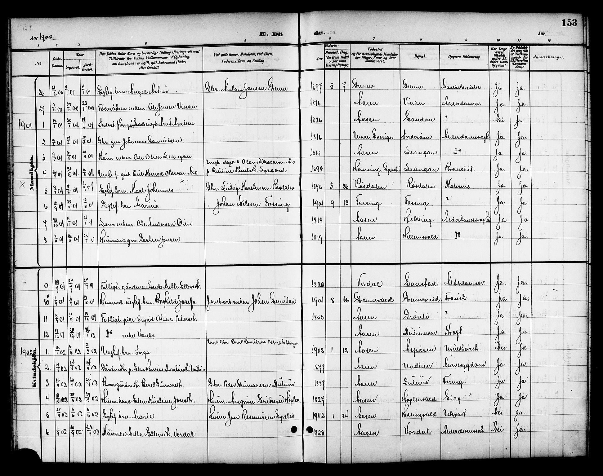 SAT, Ministerialprotokoller, klokkerbøker og fødselsregistre - Nord-Trøndelag, 714/L0135: Klokkerbok nr. 714C04, 1899-1918, s. 153