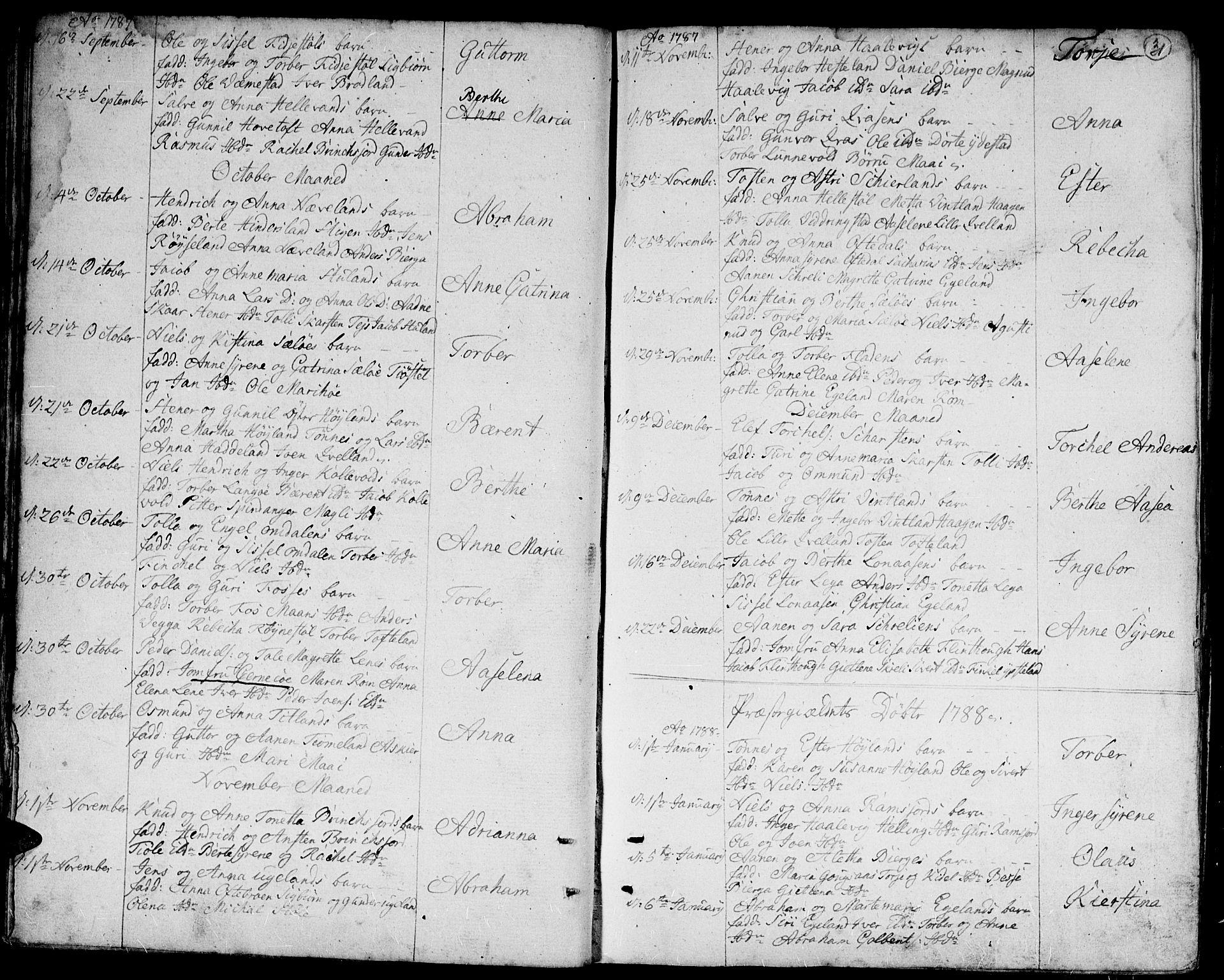 SAK, Lyngdal sokneprestkontor, F/Fa/Fac/L0004: Ministerialbok nr. A 4, 1780-1815, s. 31