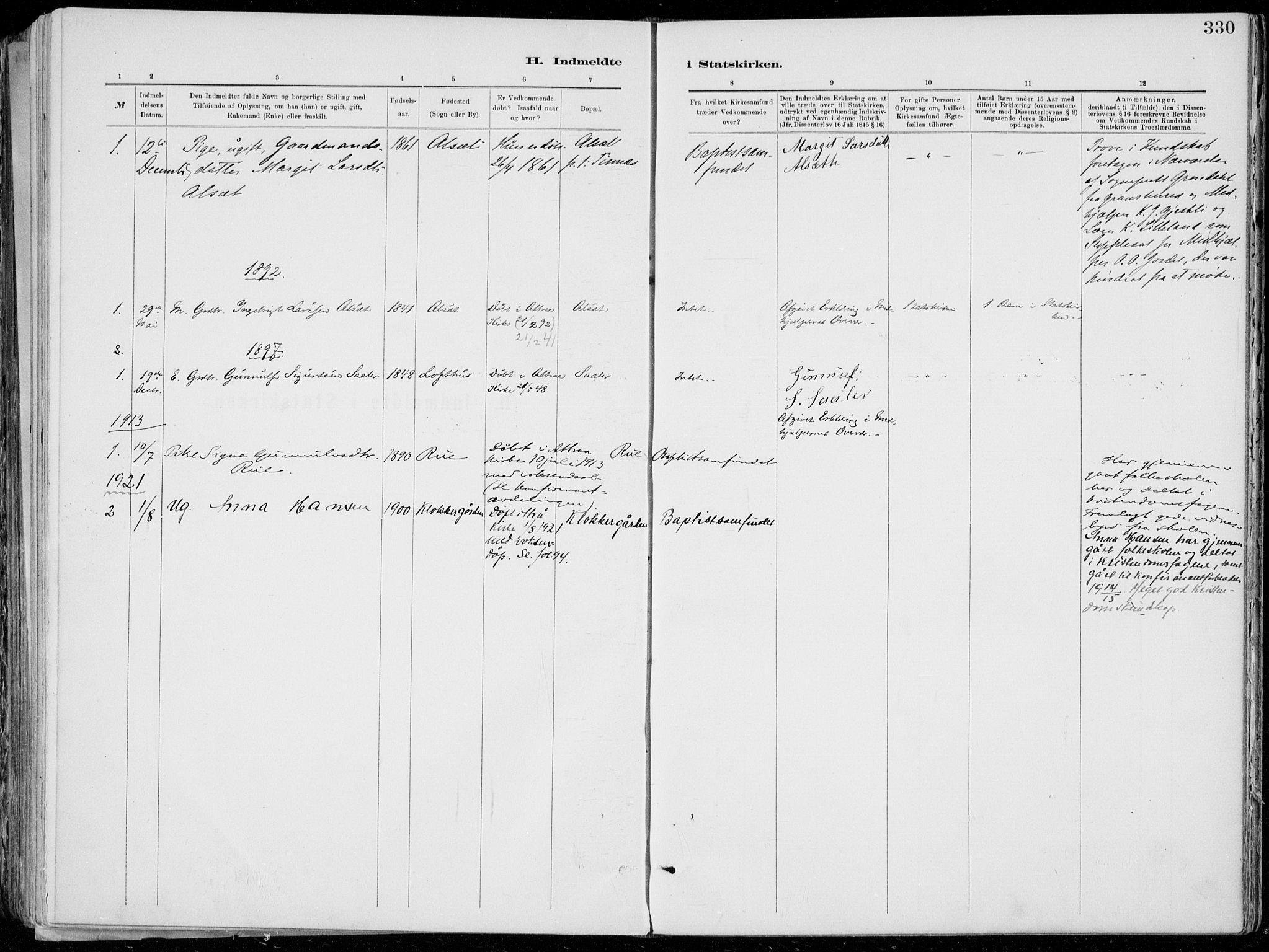 SAKO, Tinn kirkebøker, F/Fa/L0007: Ministerialbok nr. I 7, 1878-1922, s. 330