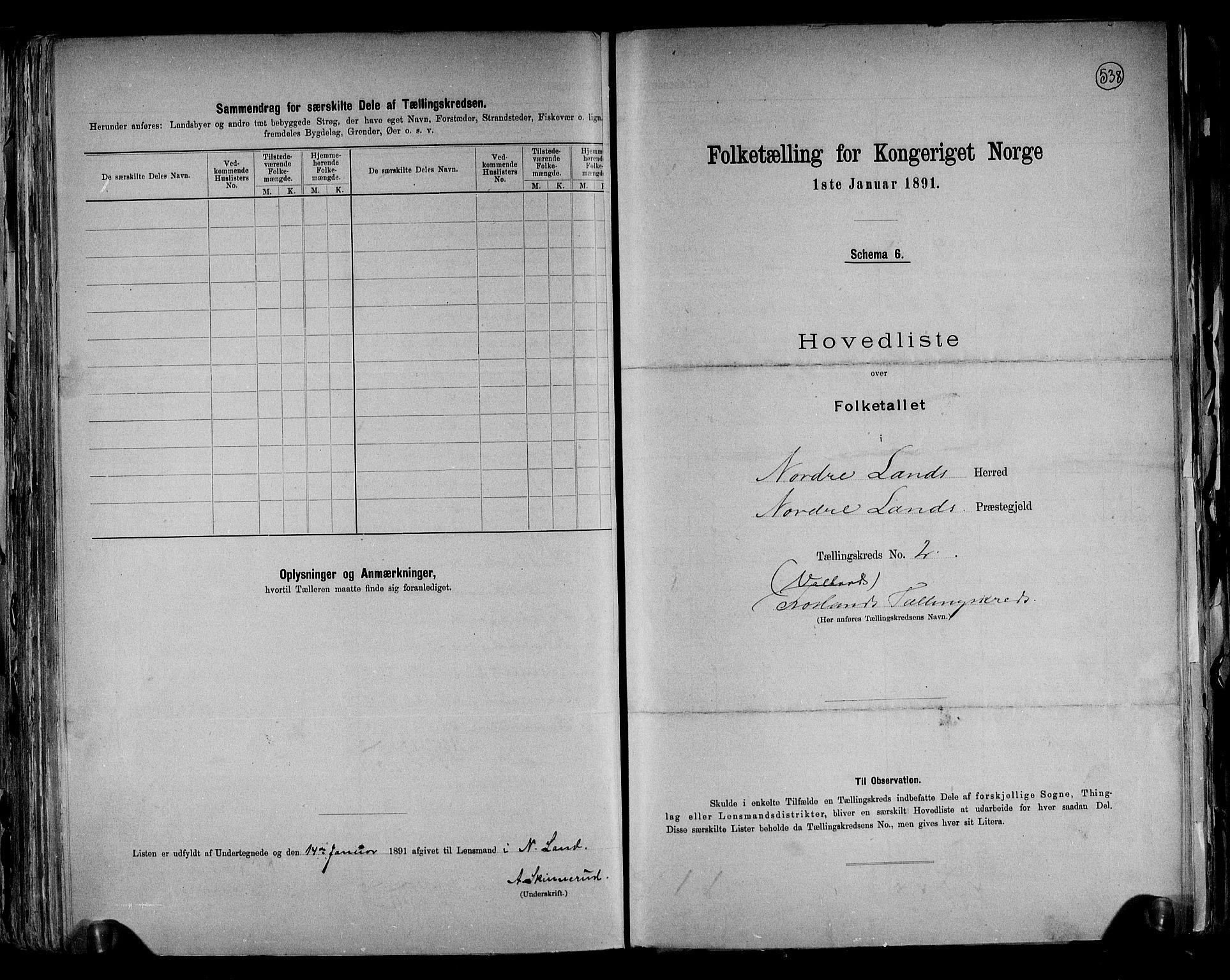 RA, Folketelling 1891 for 0538 Nordre Land herred, 1891, s. 6