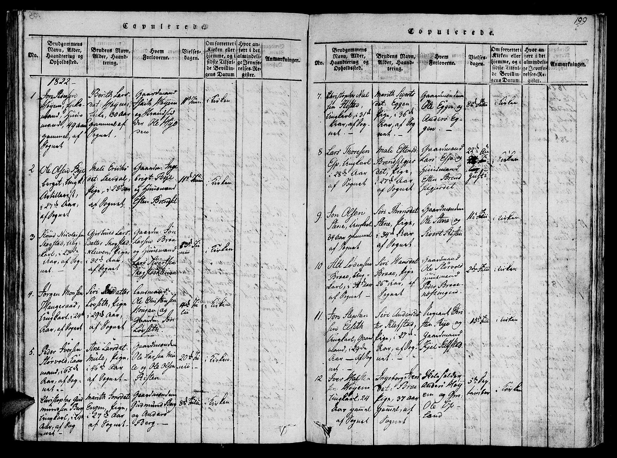 SAT, Ministerialprotokoller, klokkerbøker og fødselsregistre - Sør-Trøndelag, 612/L0372: Ministerialbok nr. 612A06 /1, 1816-1828, s. 199