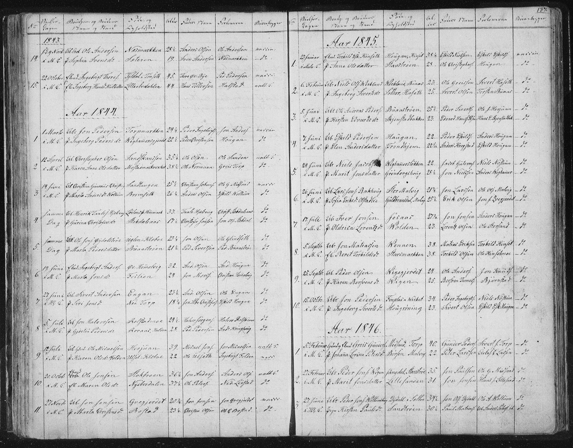 SAT, Ministerialprotokoller, klokkerbøker og fødselsregistre - Sør-Trøndelag, 616/L0406: Ministerialbok nr. 616A03, 1843-1879, s. 137