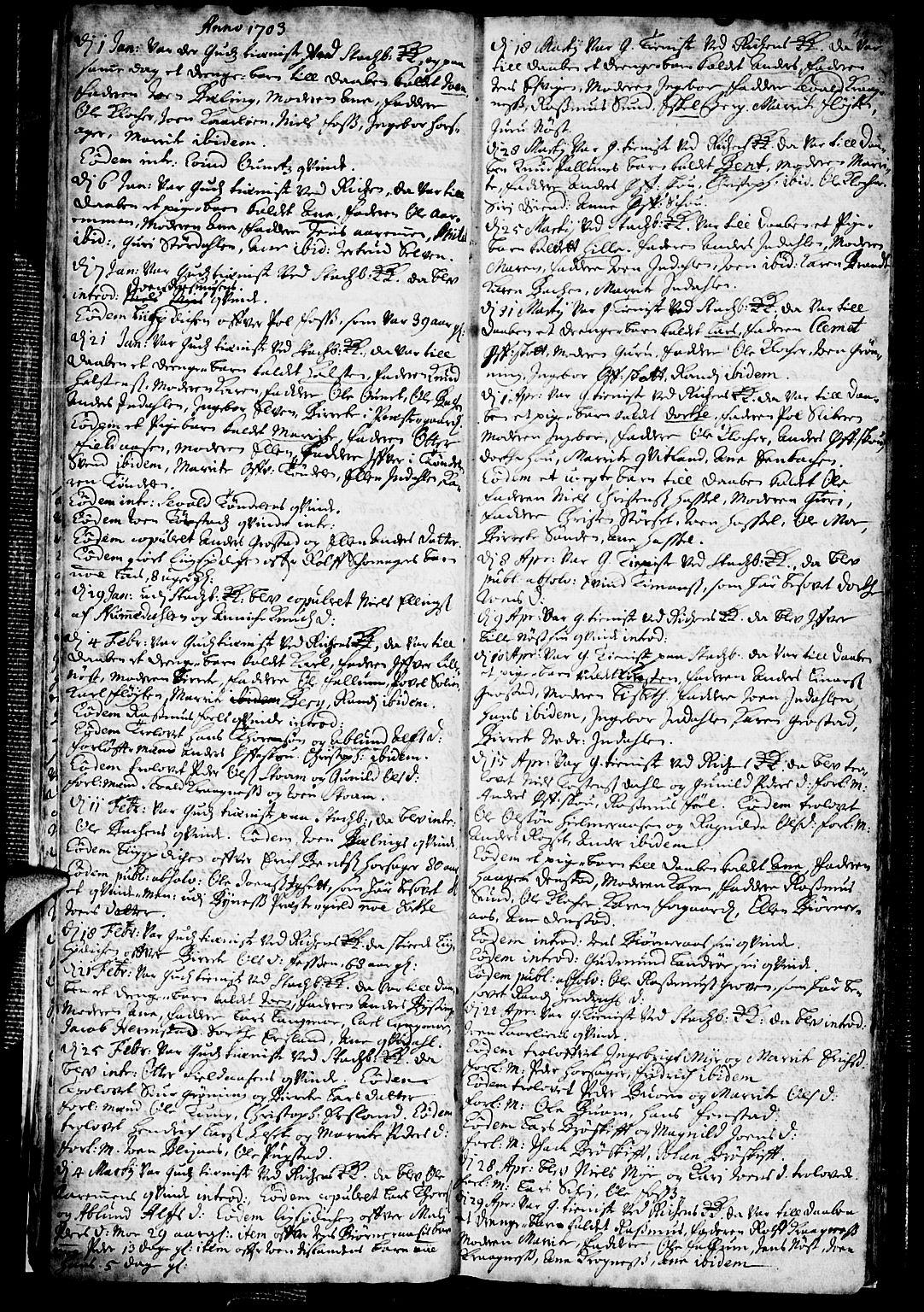 SAT, Ministerialprotokoller, klokkerbøker og fødselsregistre - Sør-Trøndelag, 646/L0603: Ministerialbok nr. 646A01, 1700-1734, s. 11