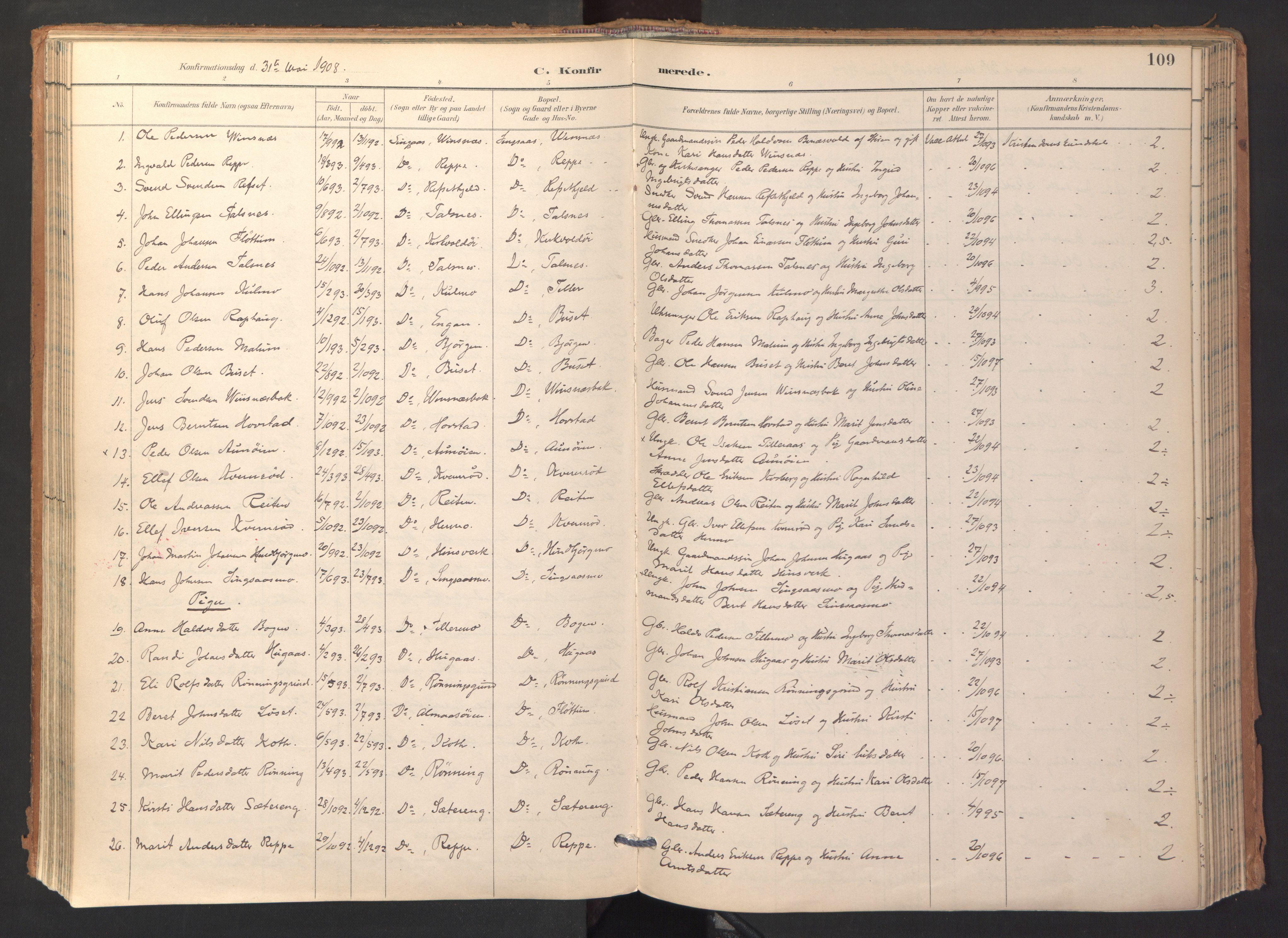 SAT, Ministerialprotokoller, klokkerbøker og fødselsregistre - Sør-Trøndelag, 688/L1025: Ministerialbok nr. 688A02, 1891-1909, s. 109