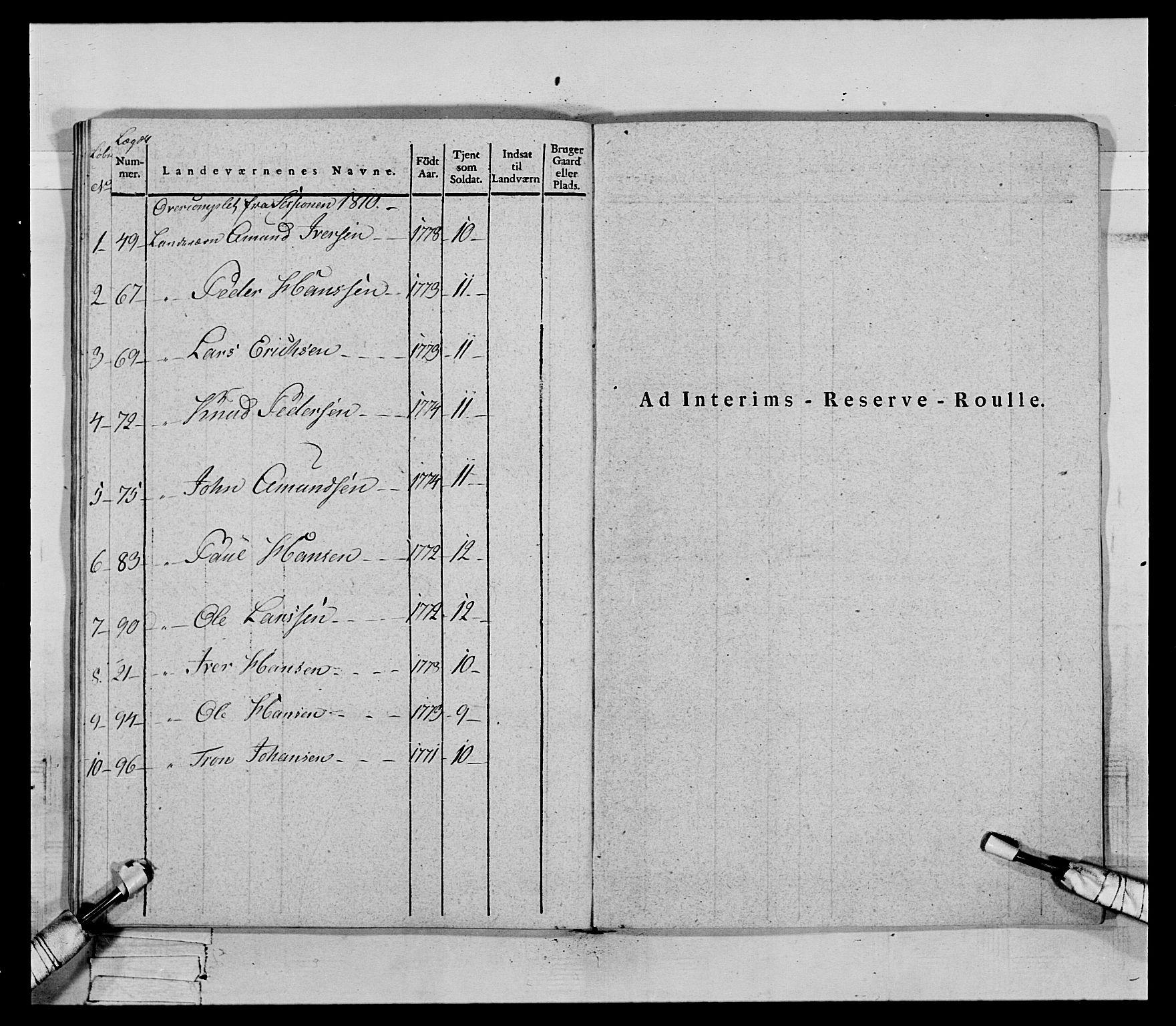 RA, Generalitets- og kommissariatskollegiet, Det kongelige norske kommissariatskollegium, E/Eh/L0069: Opplandske gevorbne infanteriregiment, 1810-1818, s. 603