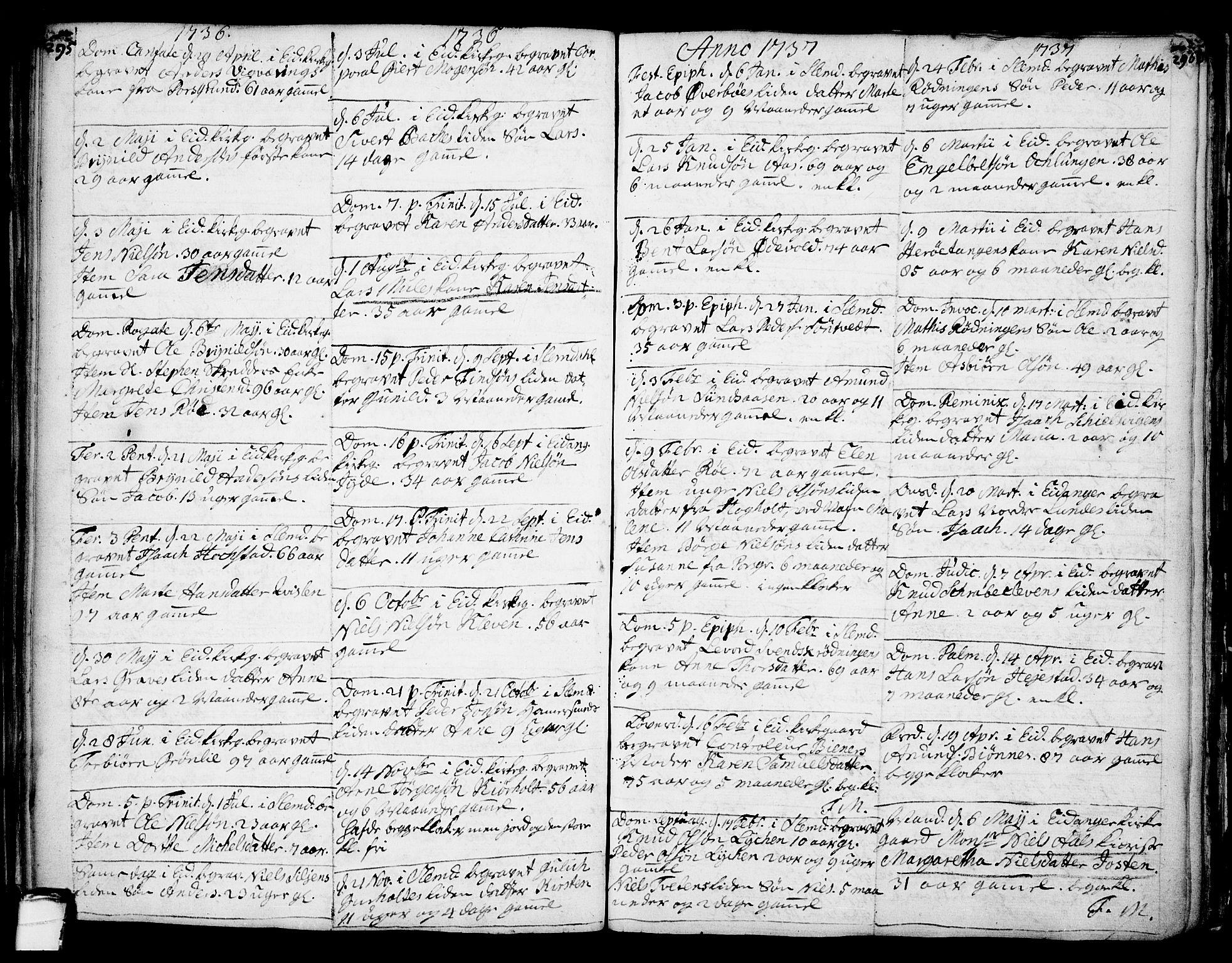 SAKO, Eidanger kirkebøker, F/Fa/L0004: Ministerialbok nr. 4, 1733-1759, s. 295-296