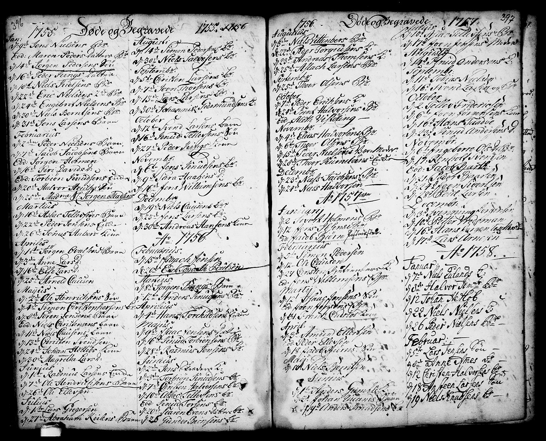 SAKO, Kragerø kirkebøker, F/Fa/L0001: Ministerialbok nr. 1, 1702-1766, s. 396-397