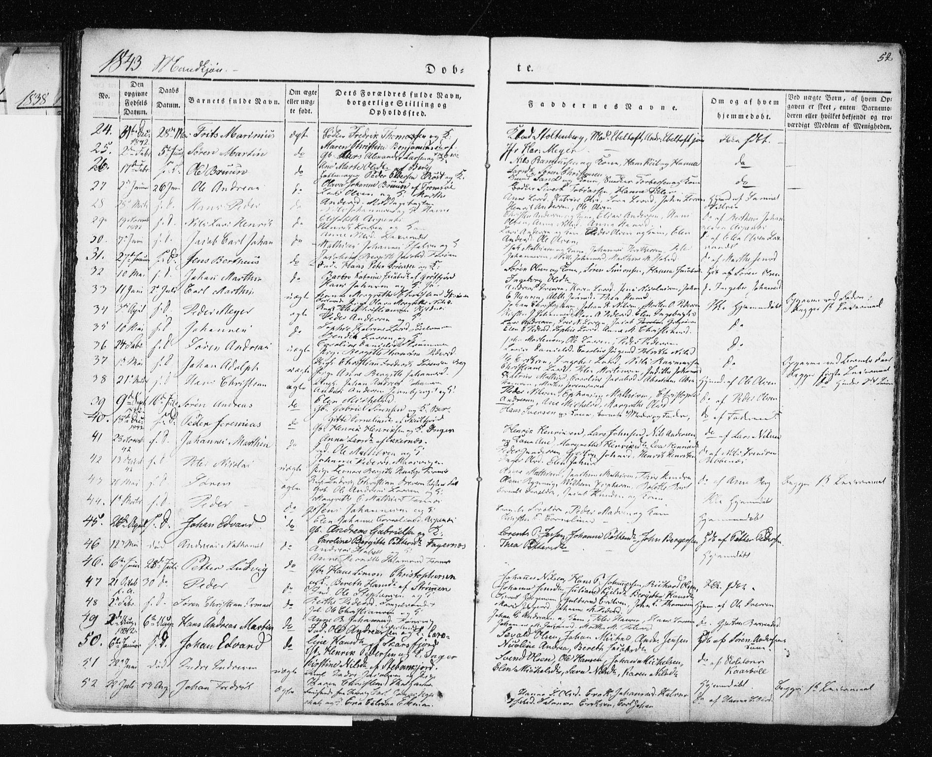SATØ, Tromsø sokneprestkontor/stiftsprosti/domprosti, G/Ga/L0009kirke: Ministerialbok nr. 9, 1837-1847, s. 52