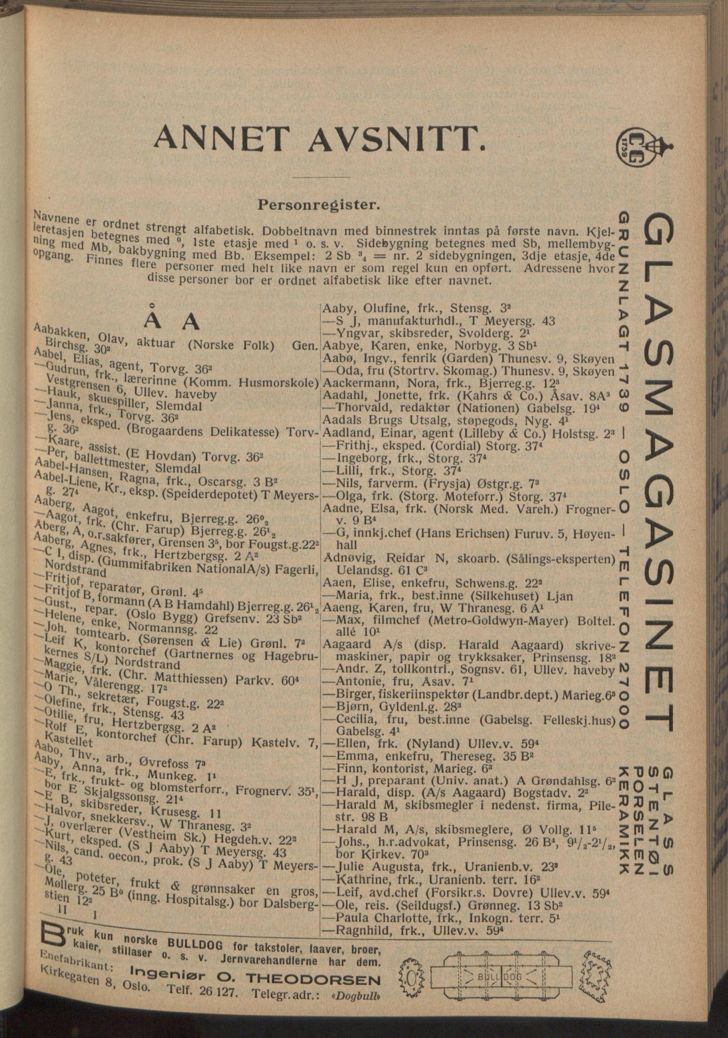 RA, Oslo adressebok (publikasjon)*, 1933, s. 65