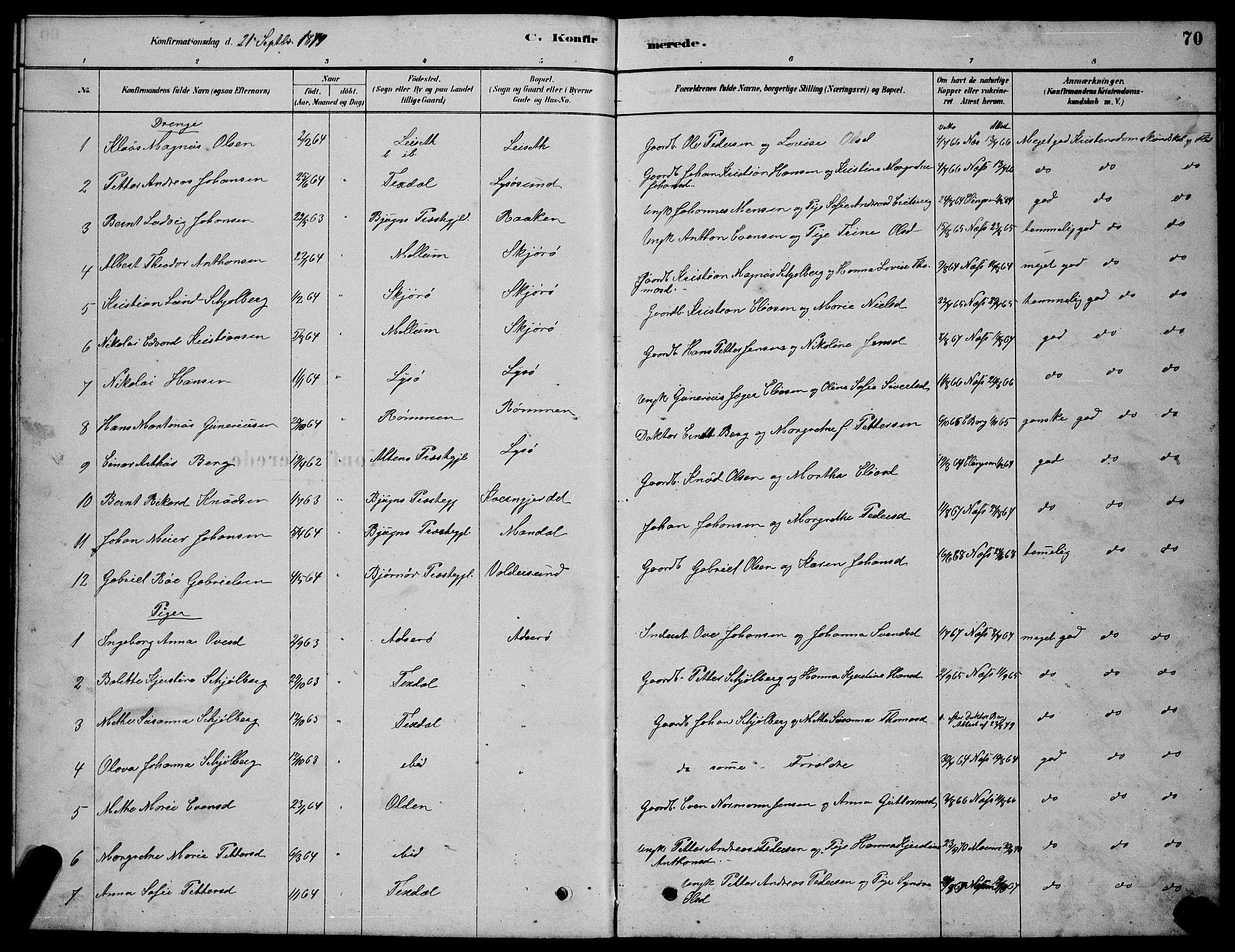 SAT, Ministerialprotokoller, klokkerbøker og fødselsregistre - Sør-Trøndelag, 654/L0665: Klokkerbok nr. 654C01, 1879-1901, s. 70