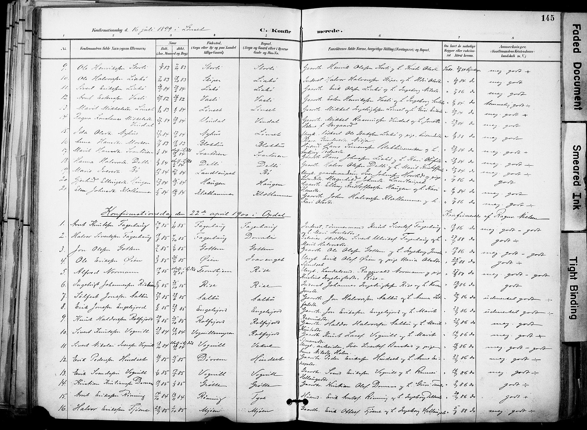 SAT, Ministerialprotokoller, klokkerbøker og fødselsregistre - Sør-Trøndelag, 678/L0902: Ministerialbok nr. 678A11, 1895-1911, s. 145