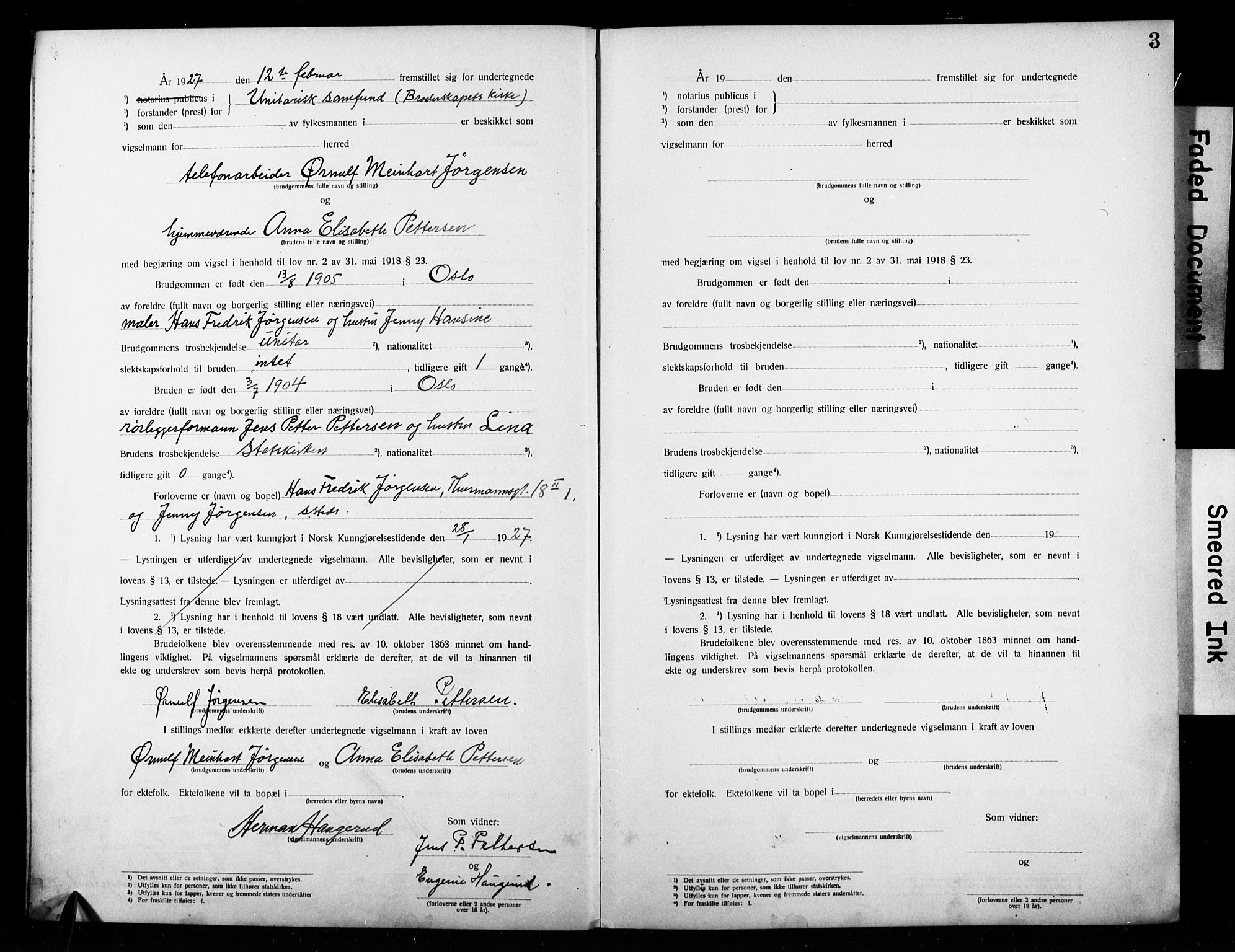 SAO, Broderskapets kirke Oslo , D/L0002: Vigselsbok (dissentere) nr. 2, 1923-1927, s. 3