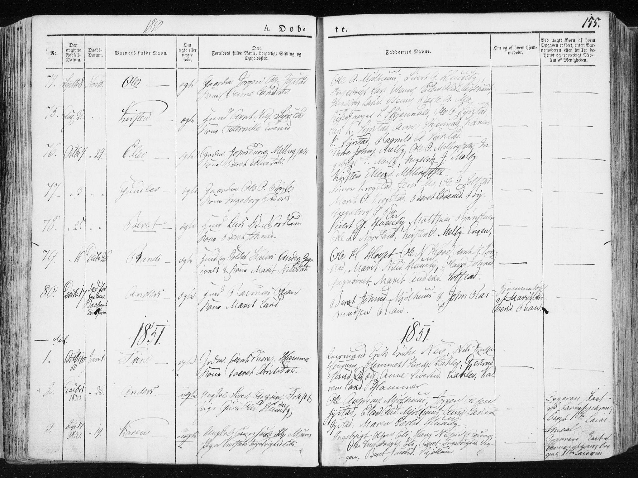 SAT, Ministerialprotokoller, klokkerbøker og fødselsregistre - Sør-Trøndelag, 665/L0771: Ministerialbok nr. 665A06, 1830-1856, s. 155