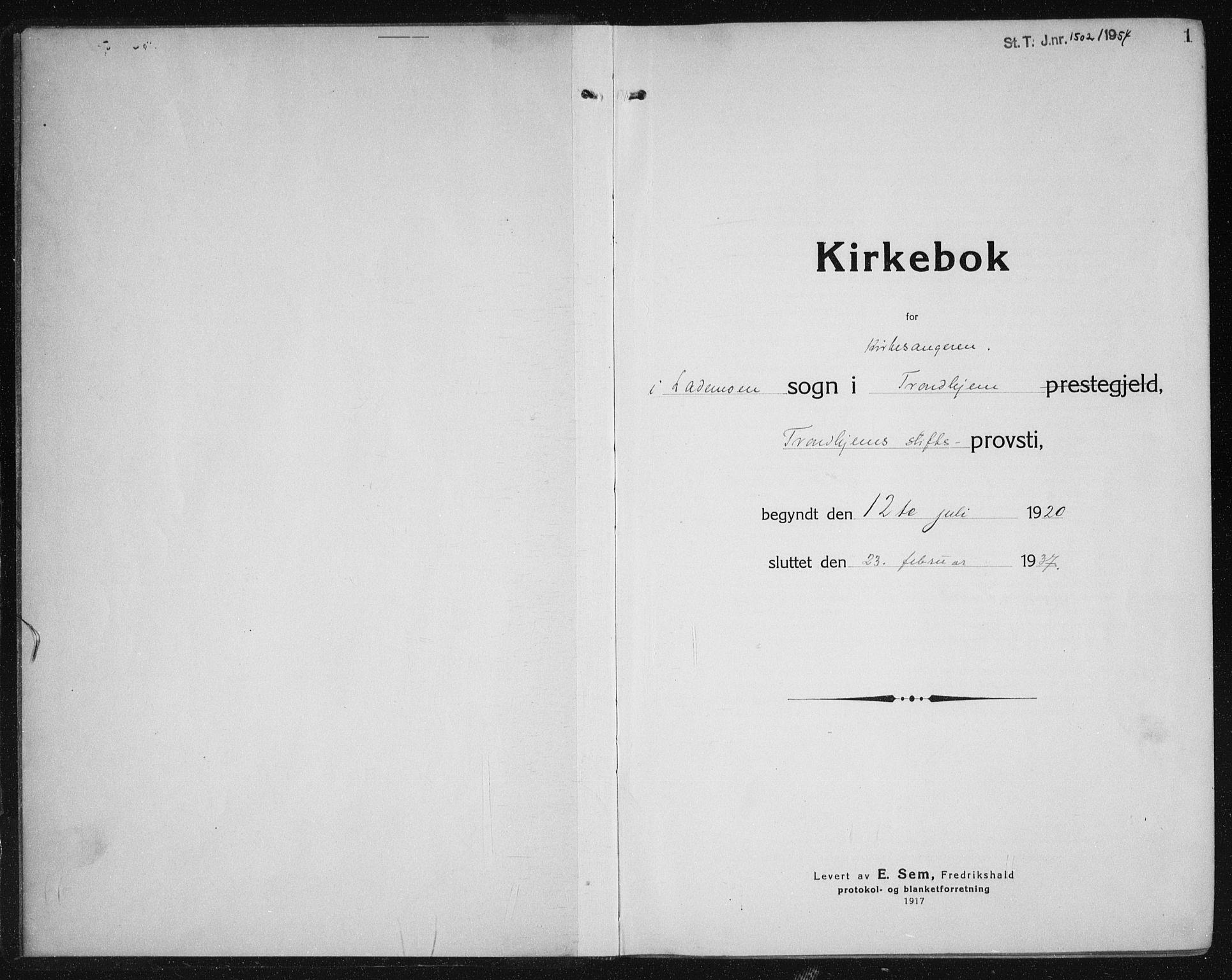 SAT, Ministerialprotokoller, klokkerbøker og fødselsregistre - Sør-Trøndelag, 605/L0259: Klokkerbok nr. 605C06, 1920-1937, s. 1