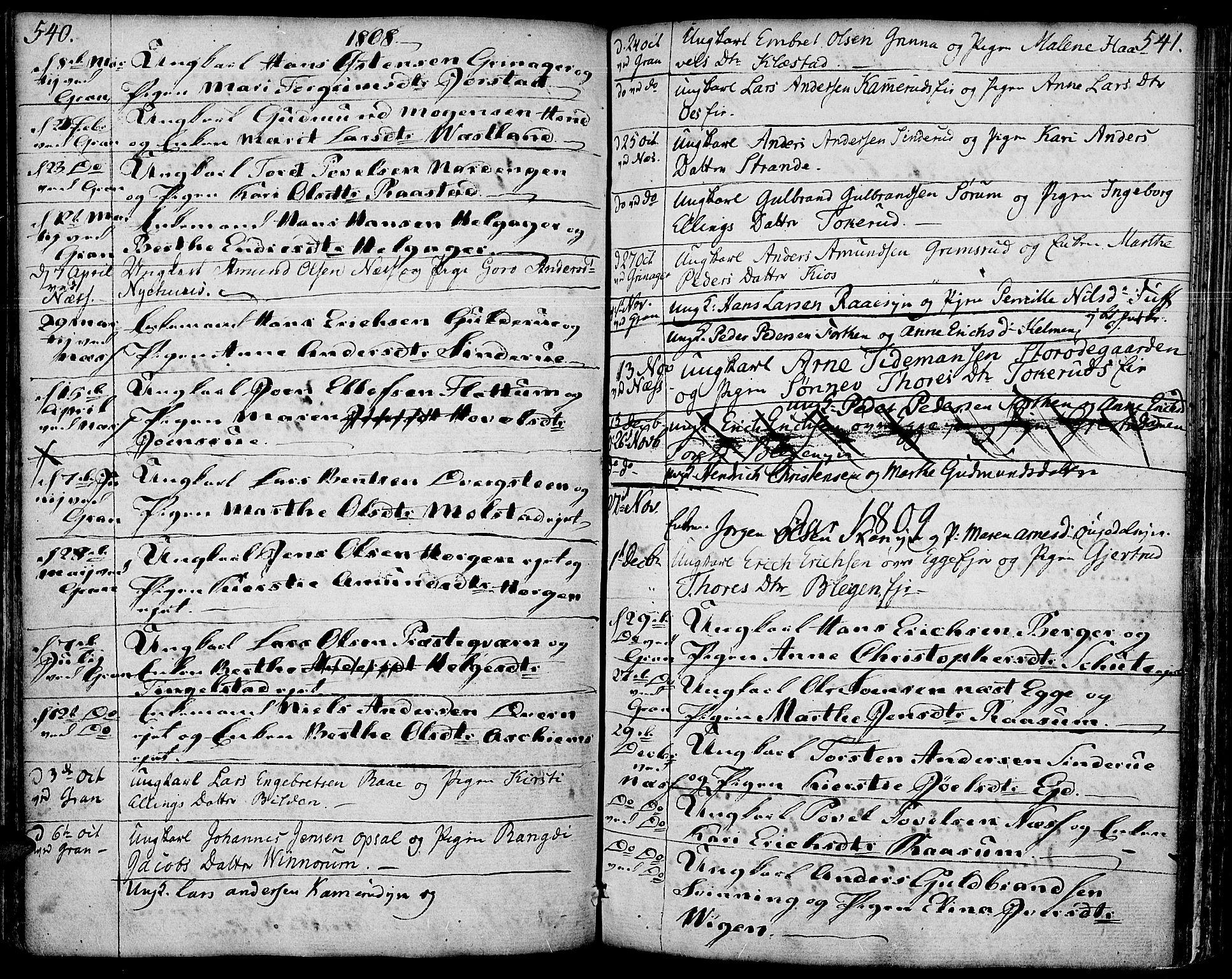 SAH, Gran prestekontor, Ministerialbok nr. 6, 1787-1824, s. 540-541