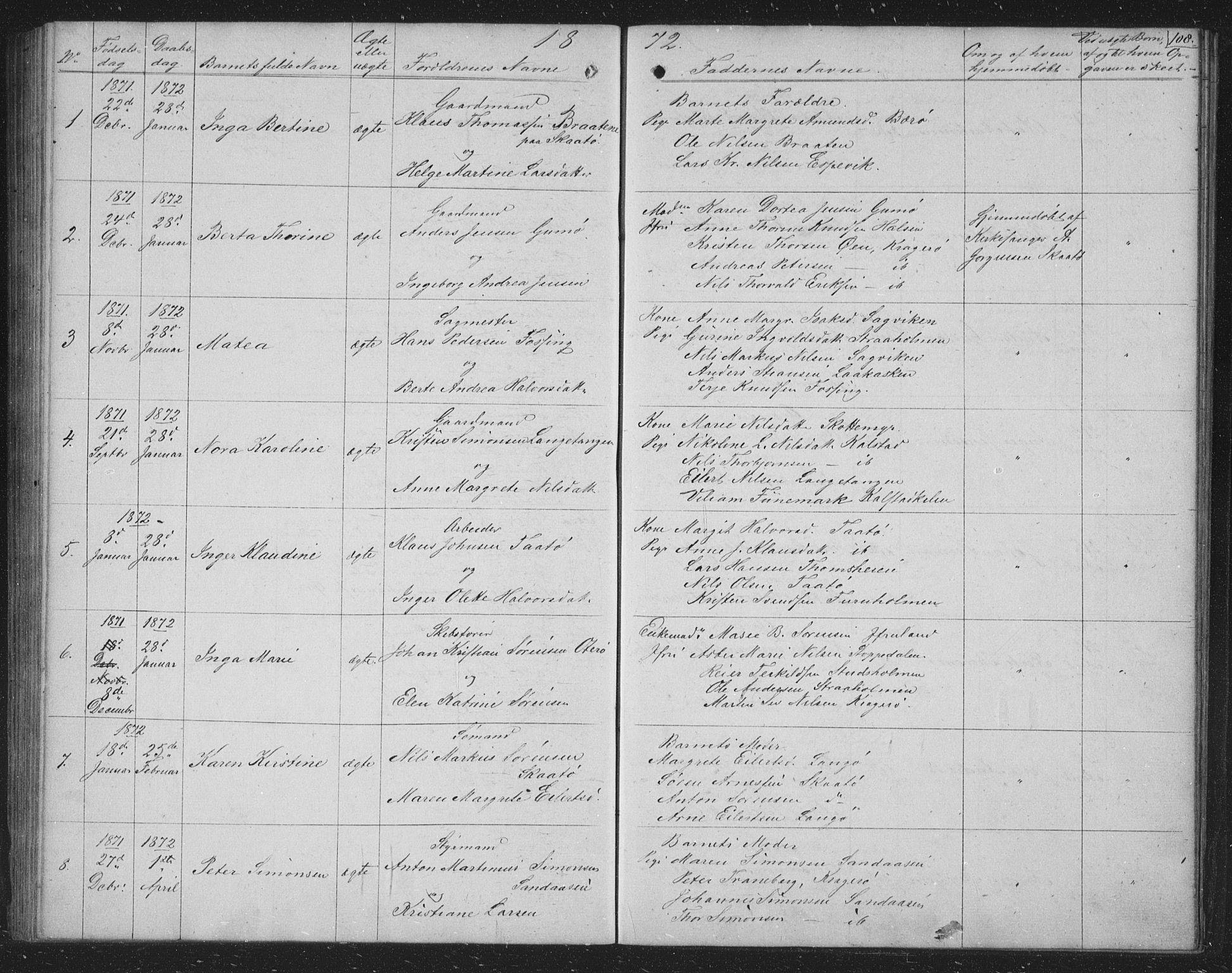 SAKO, Skåtøy kirkebøker, G/Ga/L0001: Klokkerbok nr. I 1, 1862-1872, s. 108