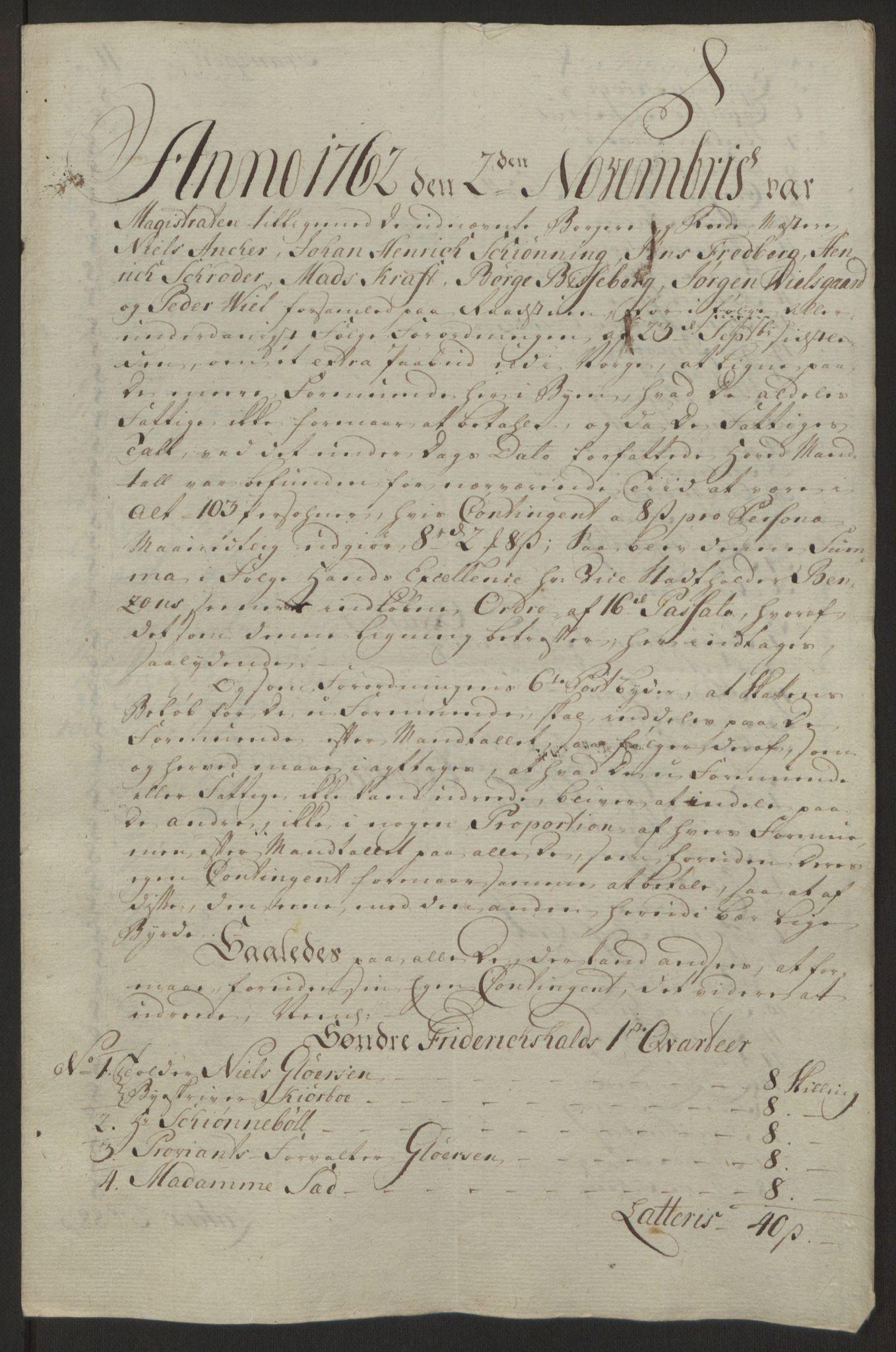 RA, Rentekammeret inntil 1814, Reviderte regnskaper, Byregnskaper, R/Ra/L0006: [A4] Kontribusjonsregnskap, 1762-1772, s. 60