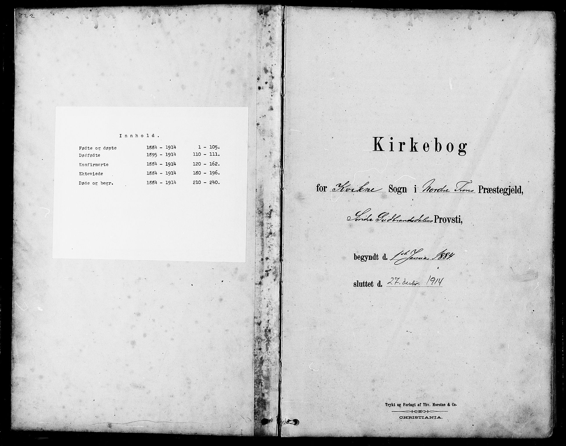 SAH, Nord-Fron prestekontor, Klokkerbok nr. 5, 1884-1914