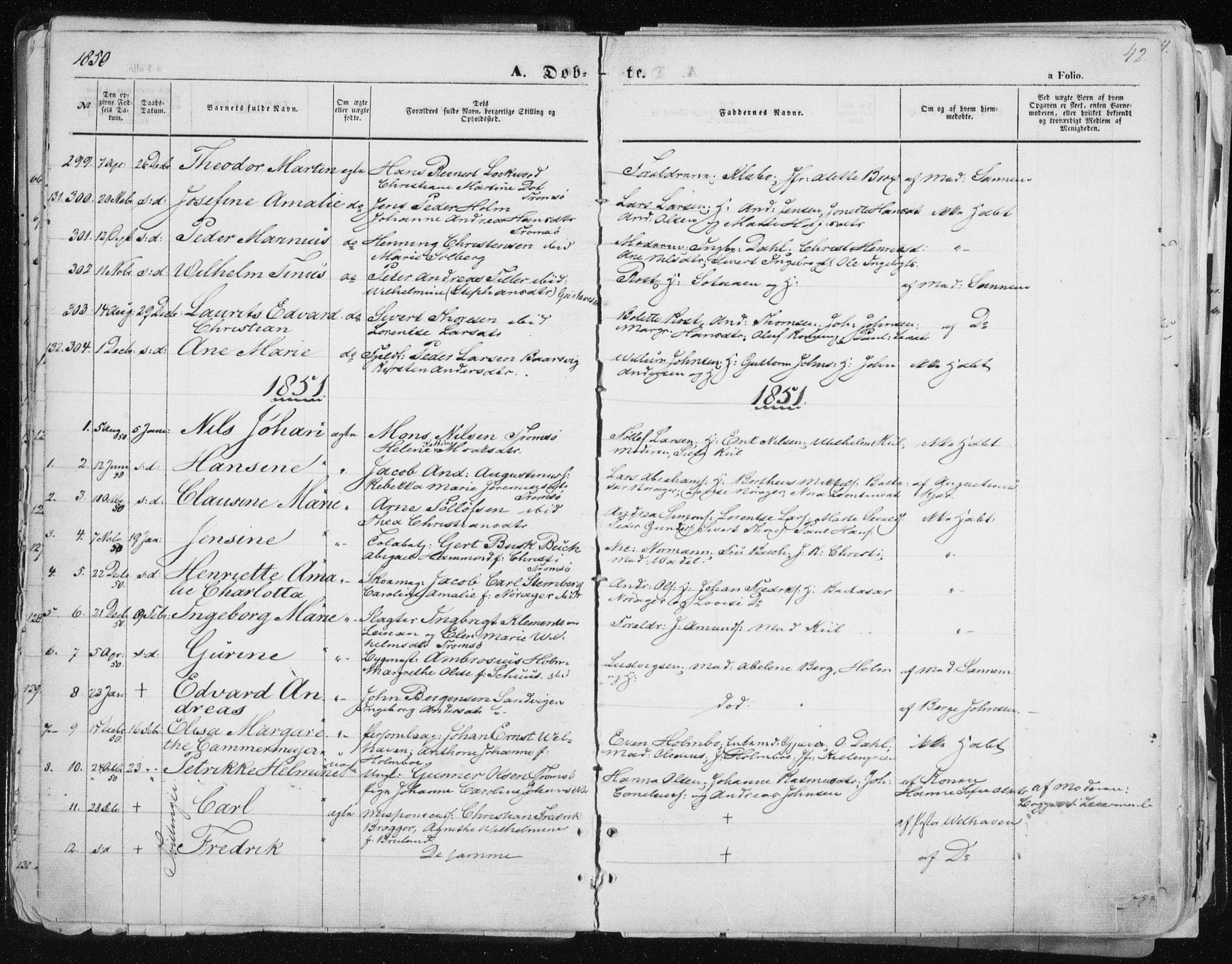 SATØ, Tromsø sokneprestkontor/stiftsprosti/domprosti, G/Ga/L0010kirke: Ministerialbok nr. 10, 1848-1855, s. 42