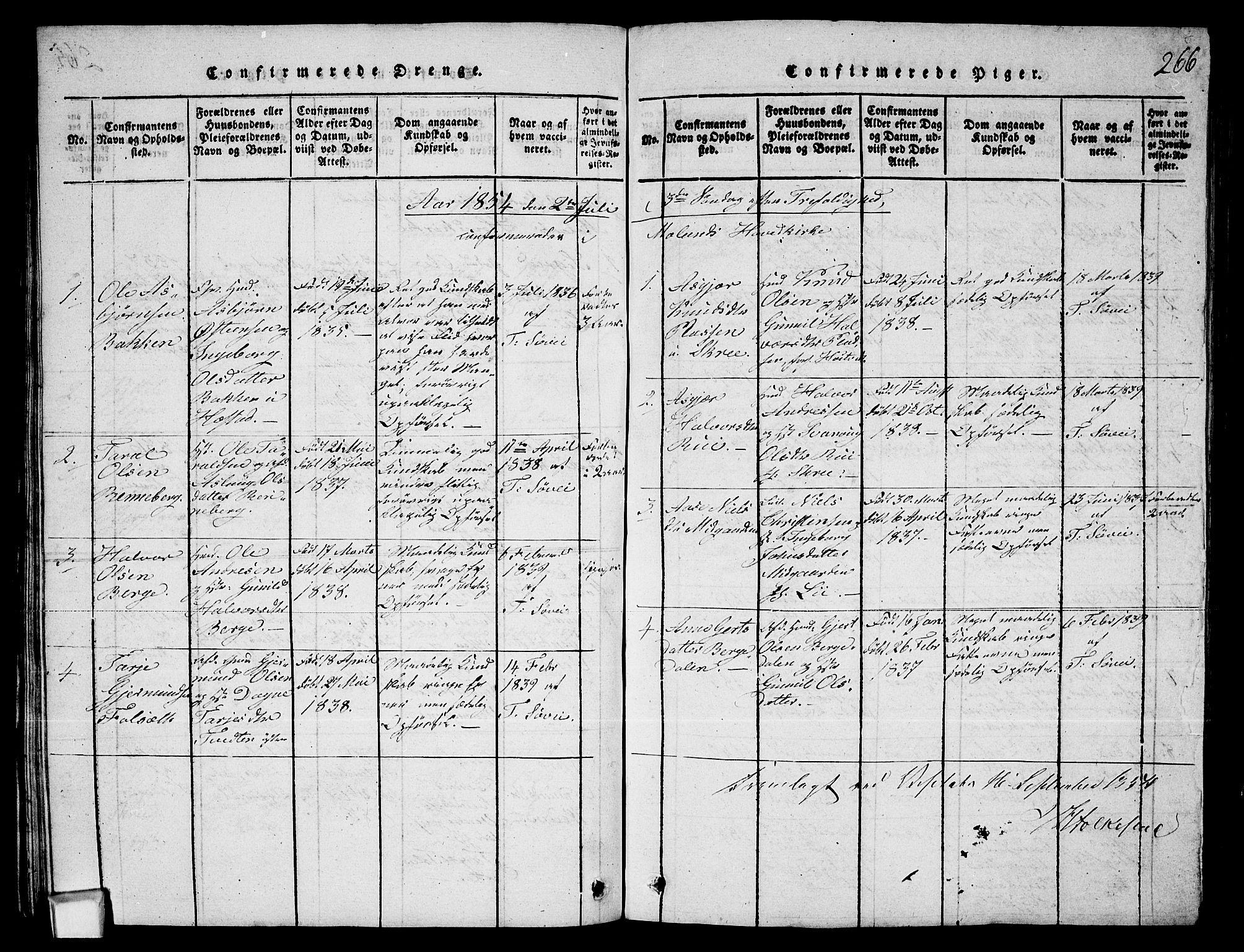 SAKO, Fyresdal kirkebøker, G/Ga/L0003: Klokkerbok nr. I 3, 1815-1863, s. 266