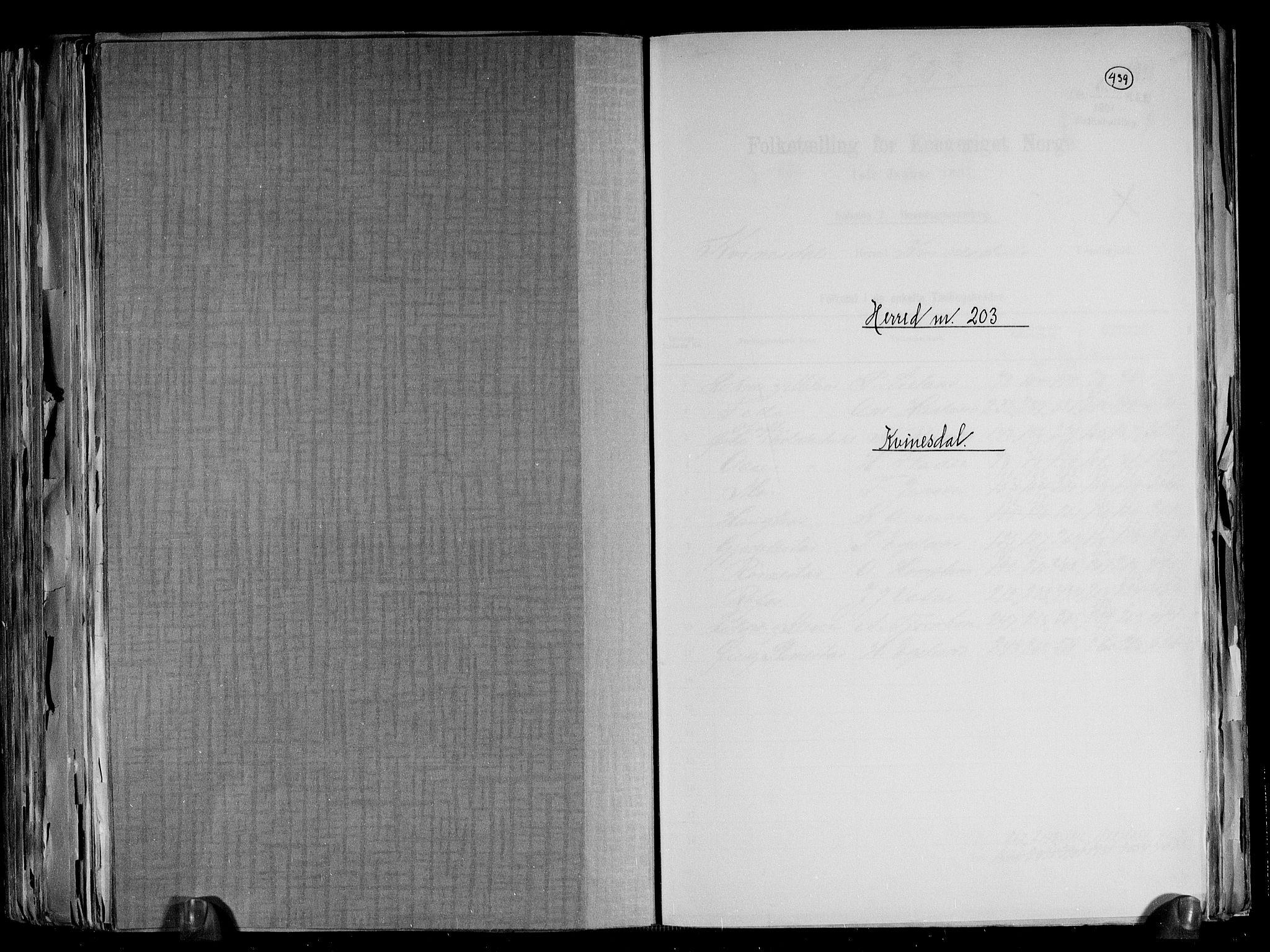 RA, Folketelling 1891 for 1037 Kvinesdal herred, 1891, s. 1
