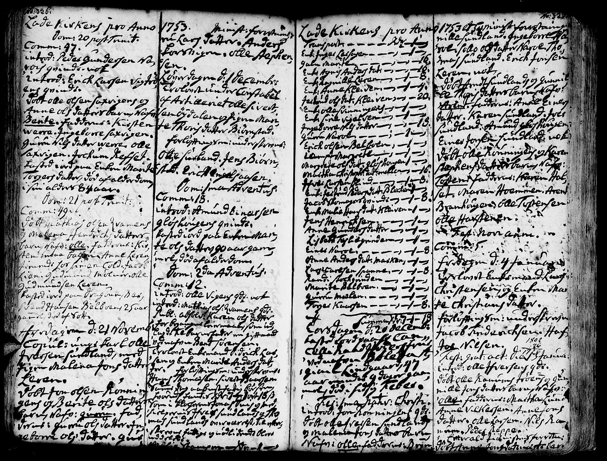 SAT, Ministerialprotokoller, klokkerbøker og fødselsregistre - Sør-Trøndelag, 606/L0275: Ministerialbok nr. 606A01 /1, 1727-1780, s. 326-327
