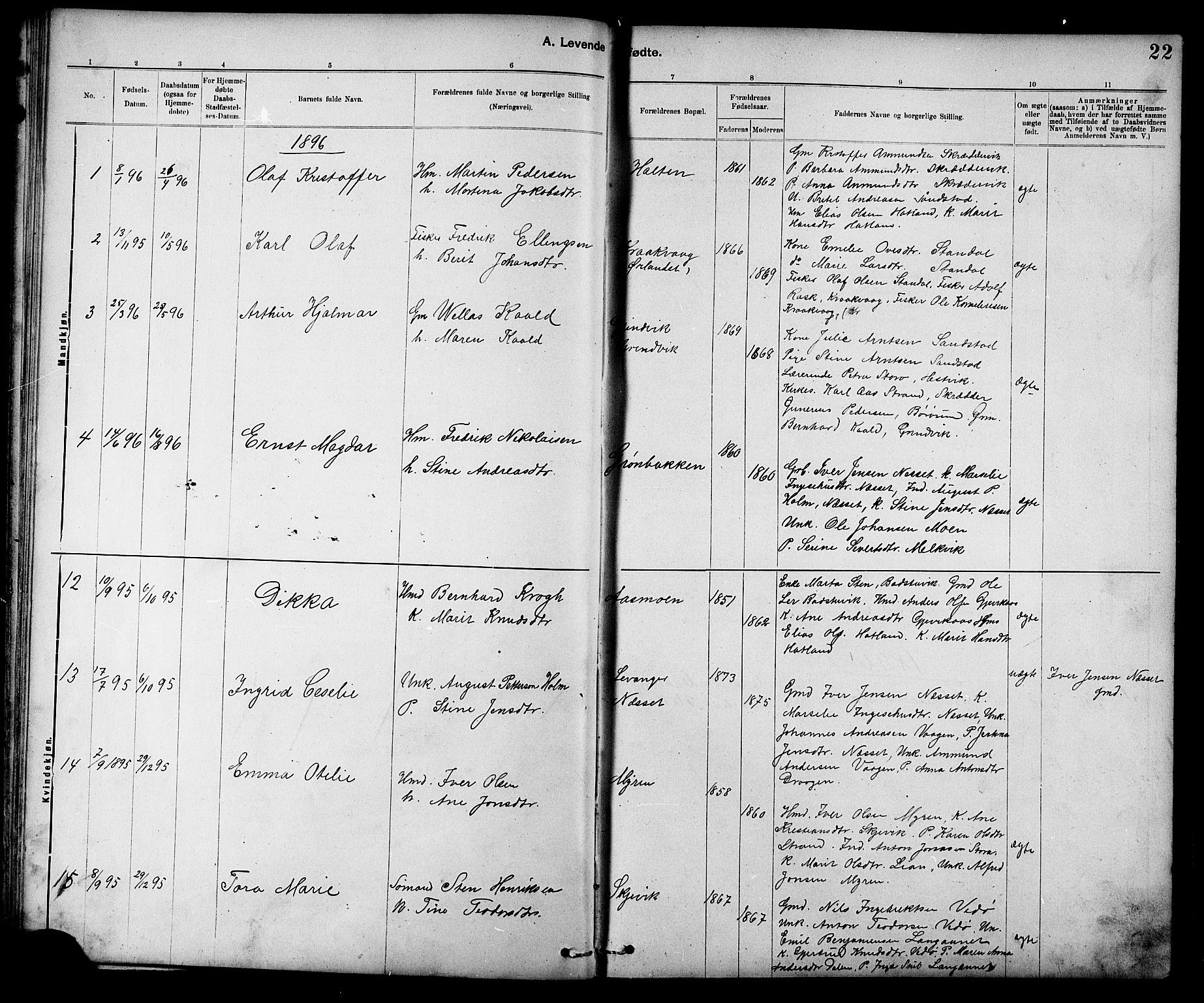 SAT, Ministerialprotokoller, klokkerbøker og fødselsregistre - Sør-Trøndelag, 639/L0573: Klokkerbok nr. 639C01, 1890-1905, s. 22