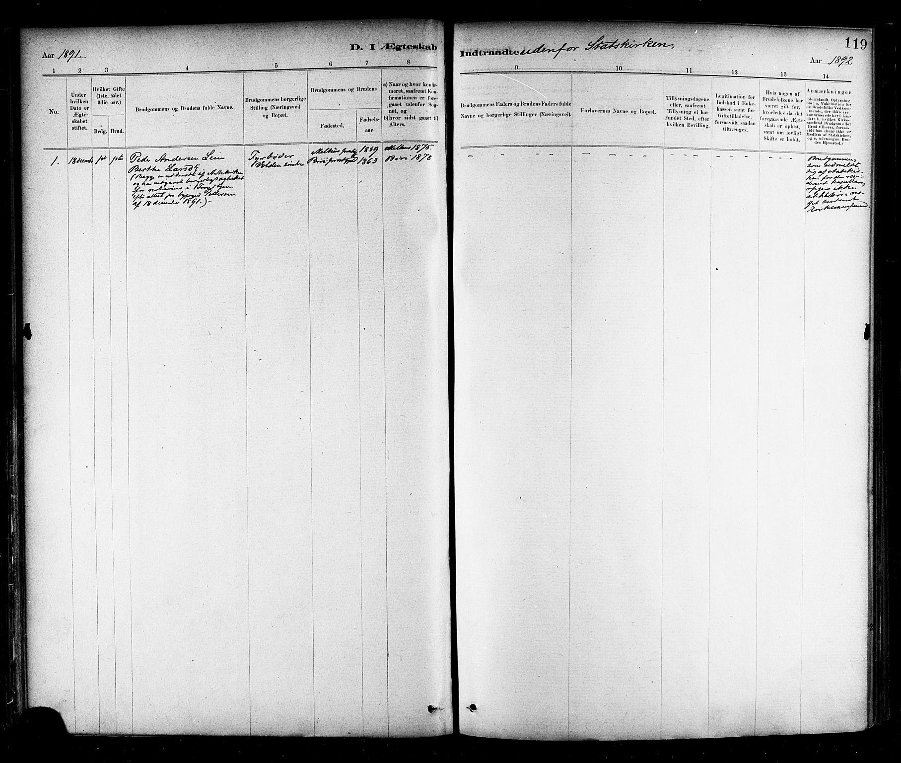 SAT, Ministerialprotokoller, klokkerbøker og fødselsregistre - Nord-Trøndelag, 706/L0047: Ministerialbok nr. 706A03, 1878-1892, s. 119