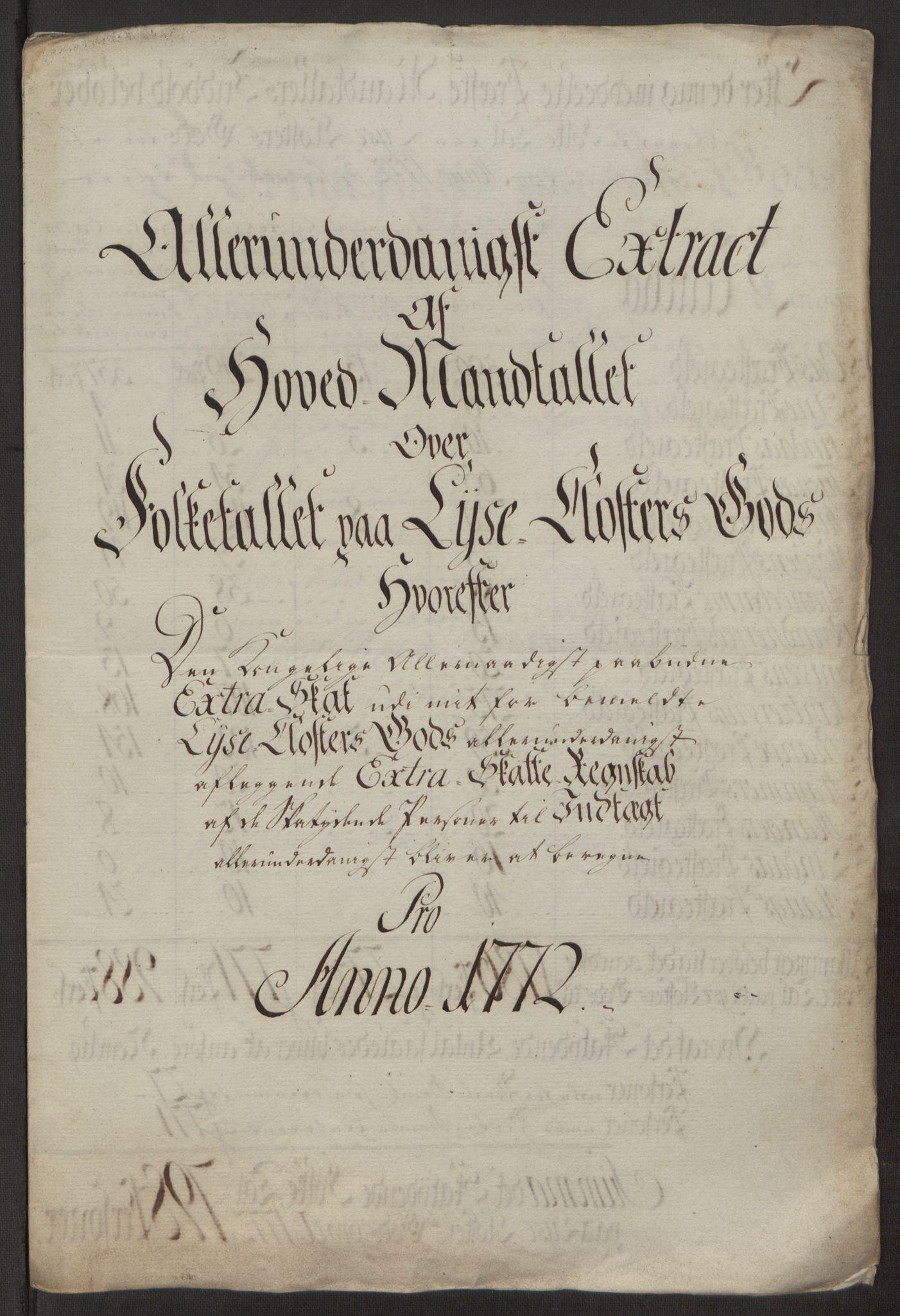 RA, Rentekammeret inntil 1814, Reviderte regnskaper, Fogderegnskap, R50/L3180: Ekstraskatten Lyse kloster, 1762-1783, s. 270