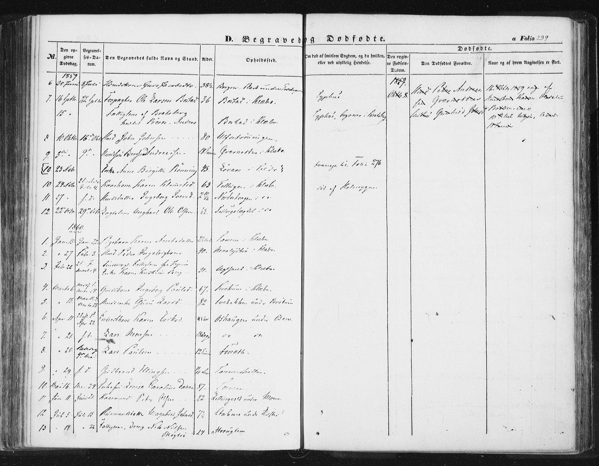 SAT, Ministerialprotokoller, klokkerbøker og fødselsregistre - Sør-Trøndelag, 618/L0441: Ministerialbok nr. 618A05, 1843-1862, s. 239