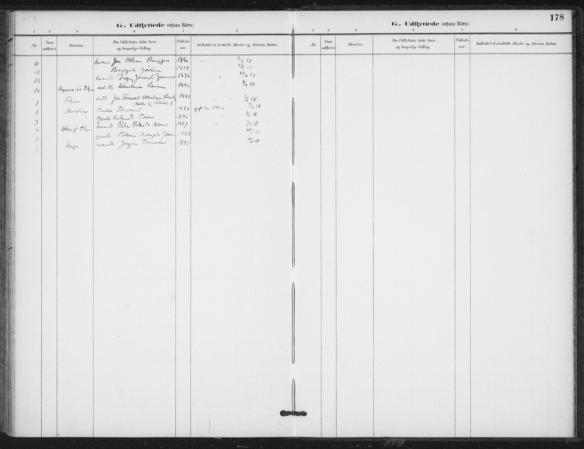SAT, Ministerialprotokoller, klokkerbøker og fødselsregistre - Nord-Trøndelag, 714/L0131: Ministerialbok nr. 714A02, 1896-1918, s. 178