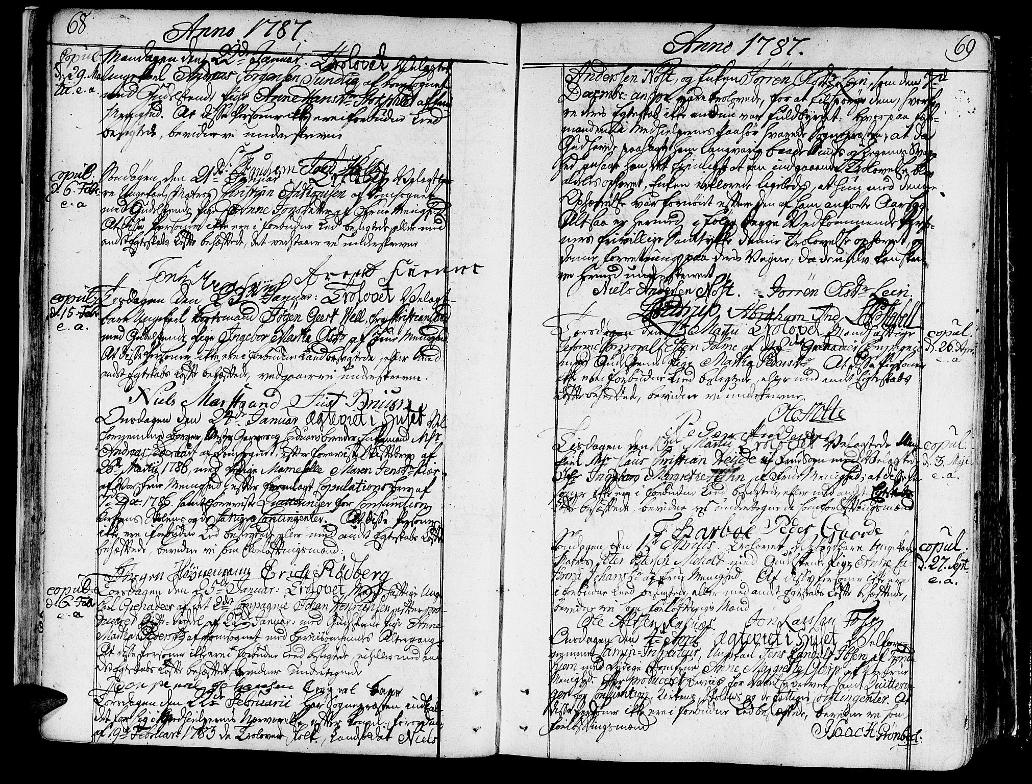SAT, Ministerialprotokoller, klokkerbøker og fødselsregistre - Sør-Trøndelag, 602/L0105: Ministerialbok nr. 602A03, 1774-1814, s. 68-69