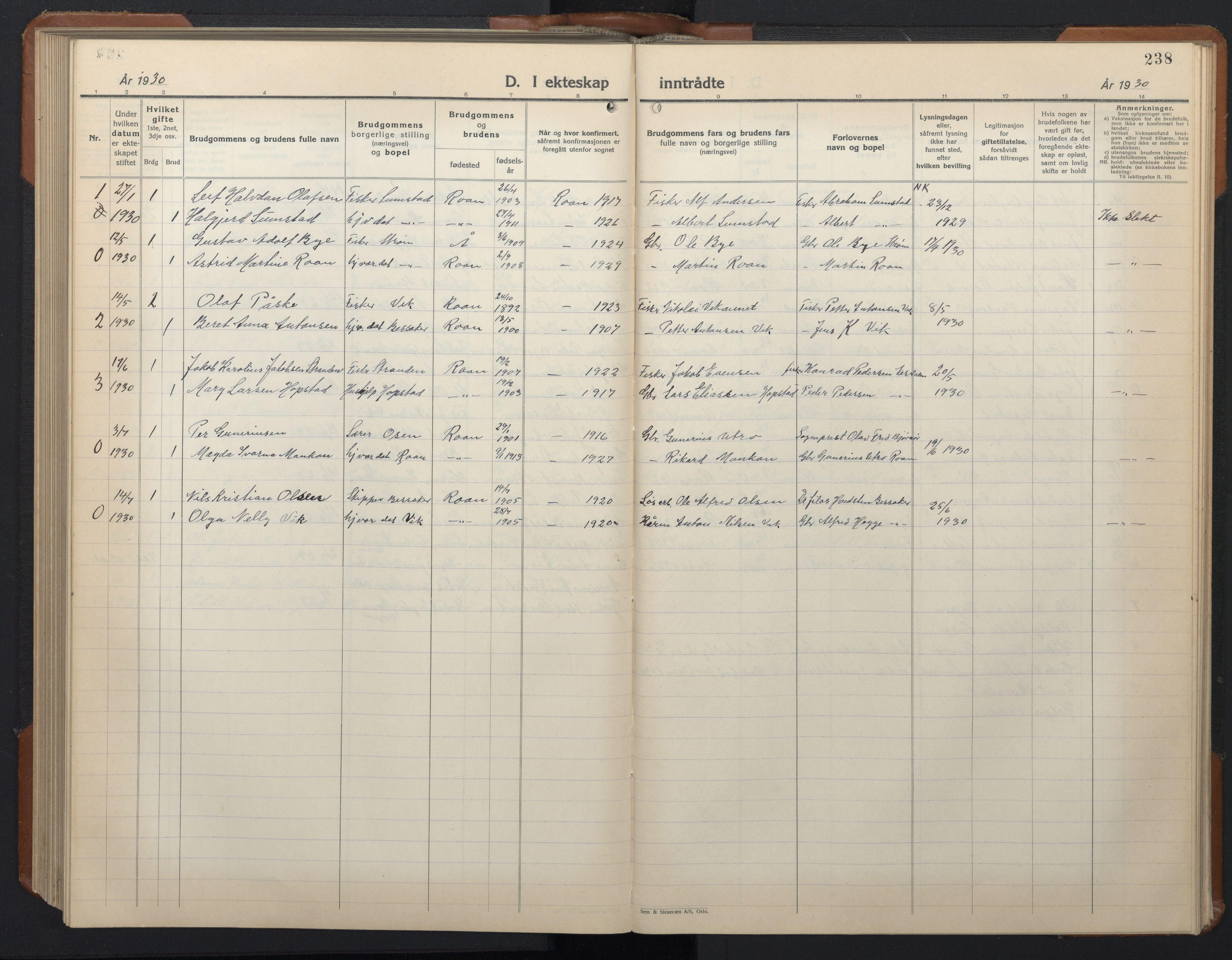 SAT, Ministerialprotokoller, klokkerbøker og fødselsregistre - Sør-Trøndelag, 657/L0718: Klokkerbok nr. 657C05, 1923-1948, s. 238