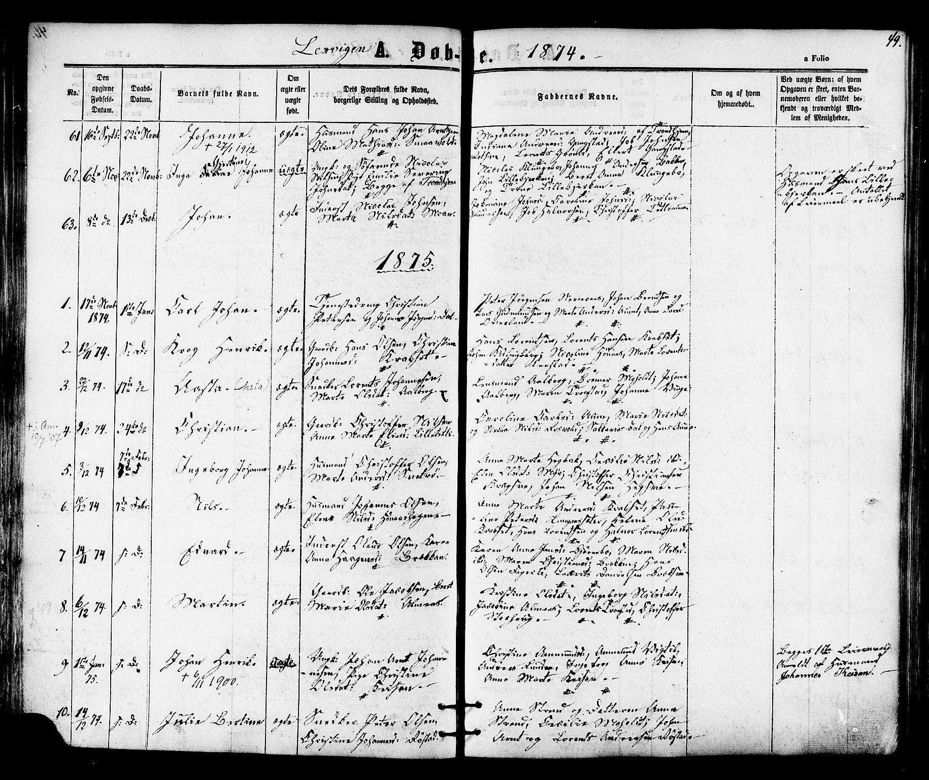 SAT, Ministerialprotokoller, klokkerbøker og fødselsregistre - Nord-Trøndelag, 701/L0009: Ministerialbok nr. 701A09 /1, 1864-1882, s. 49