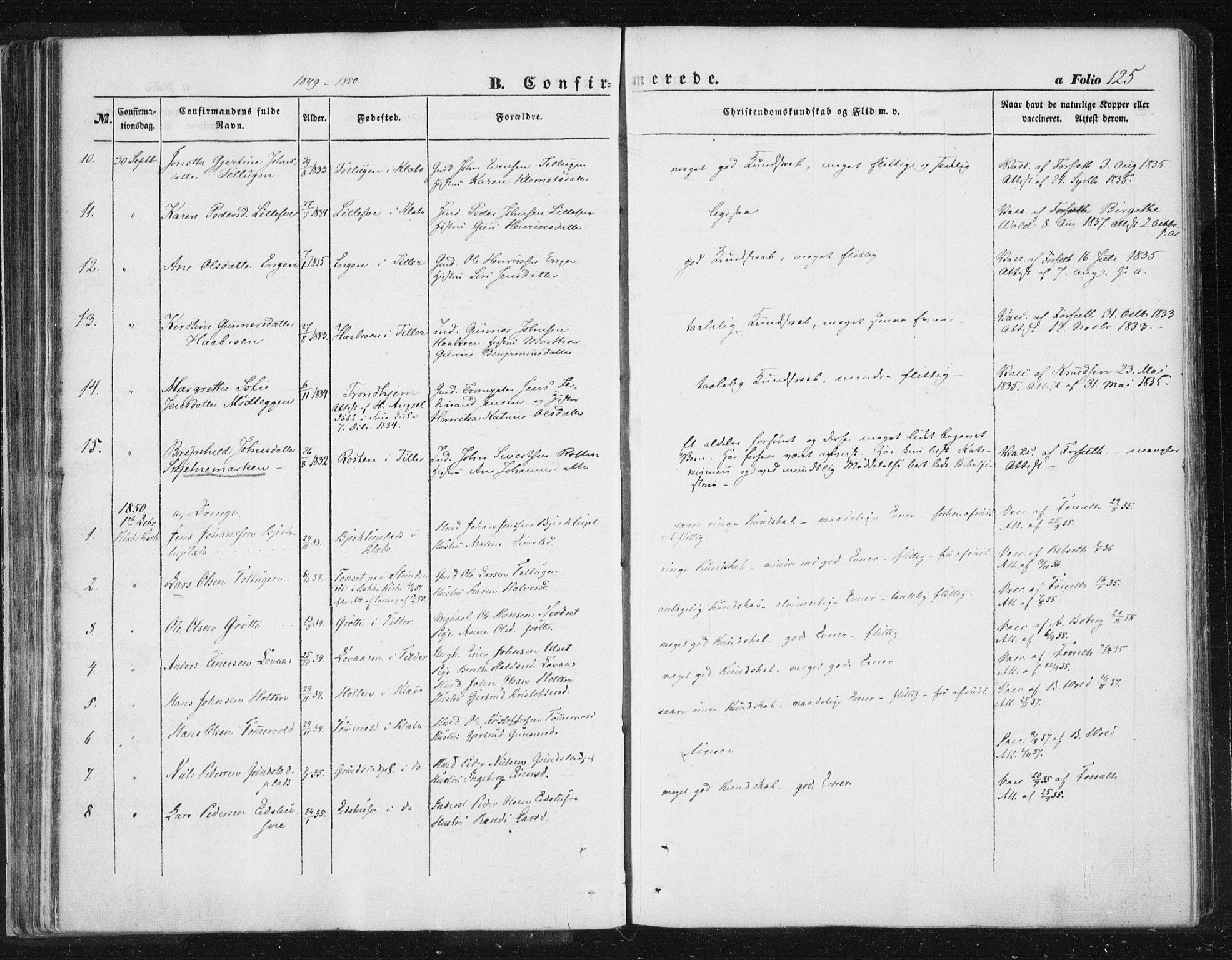 SAT, Ministerialprotokoller, klokkerbøker og fødselsregistre - Sør-Trøndelag, 618/L0441: Ministerialbok nr. 618A05, 1843-1862, s. 125