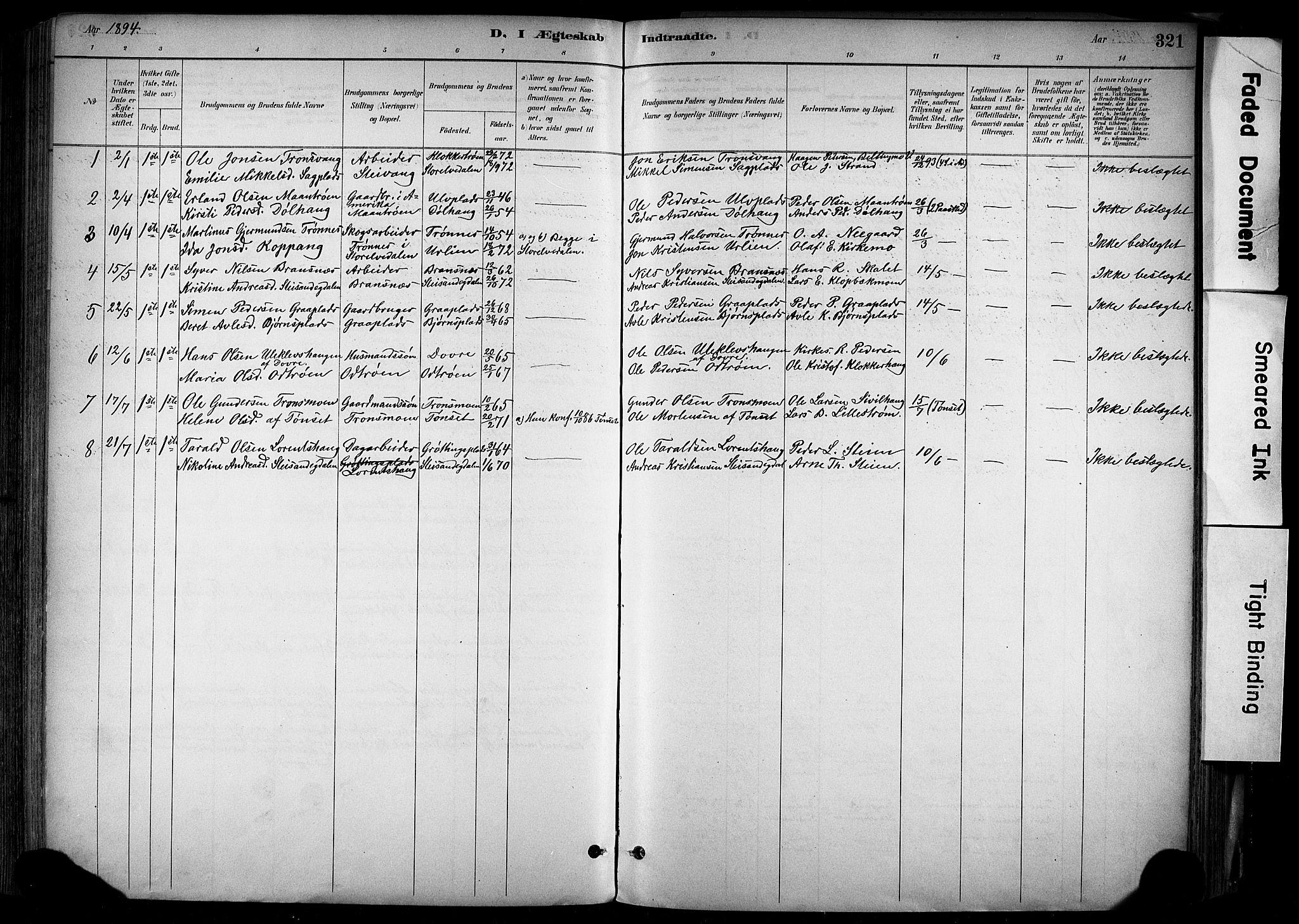 SAH, Alvdal prestekontor, Ministerialbok nr. 2, 1883-1906, s. 321