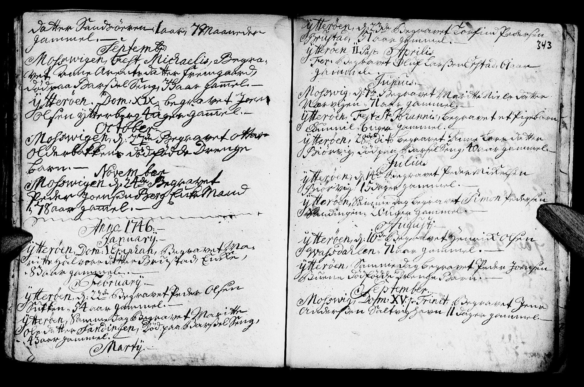 SAT, Ministerialprotokoller, klokkerbøker og fødselsregistre - Nord-Trøndelag, 722/L0215: Ministerialbok nr. 722A02, 1718-1755, s. 343