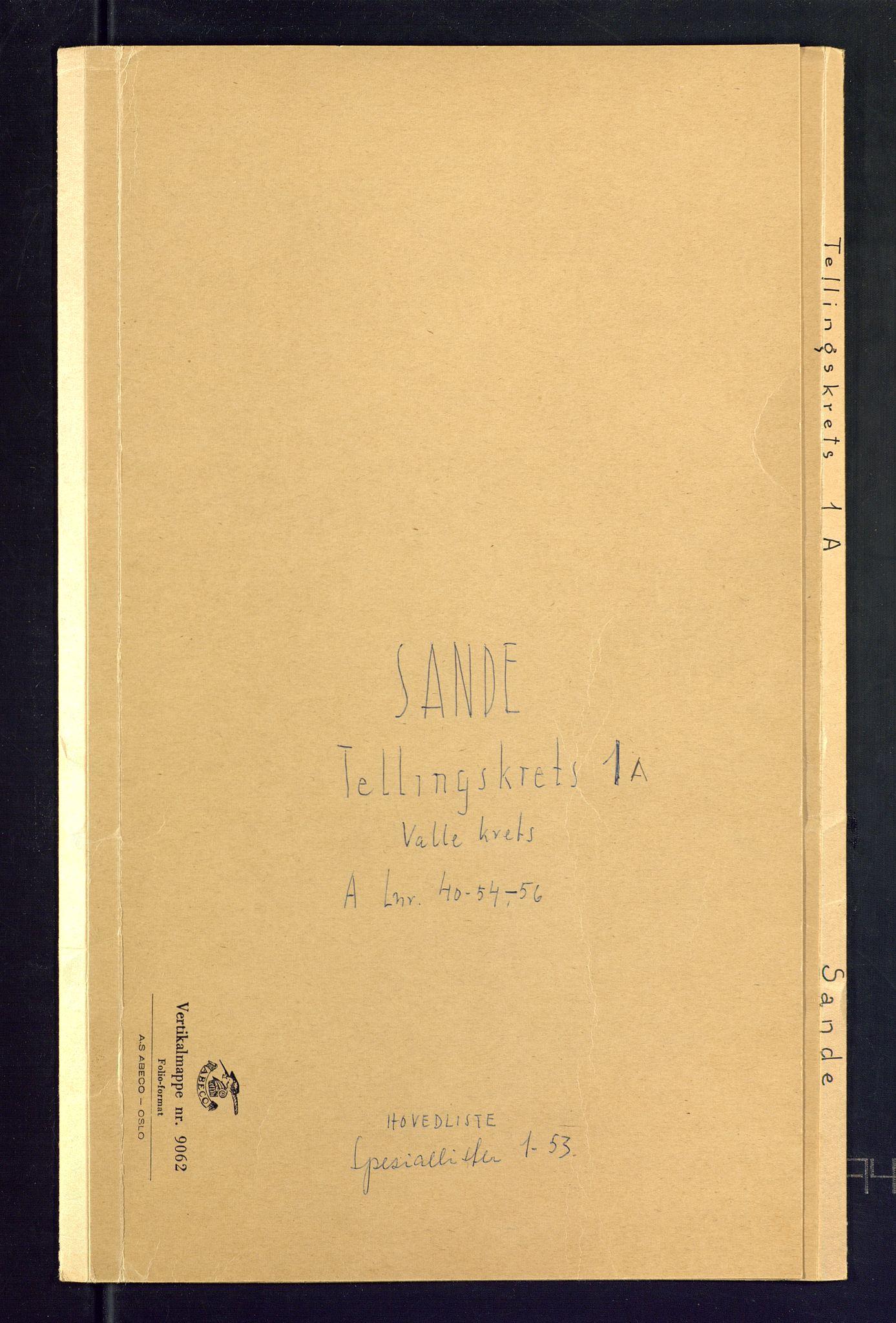 SAKO, Folketelling 1875 for 0713P Sande prestegjeld, 1875, s. 1