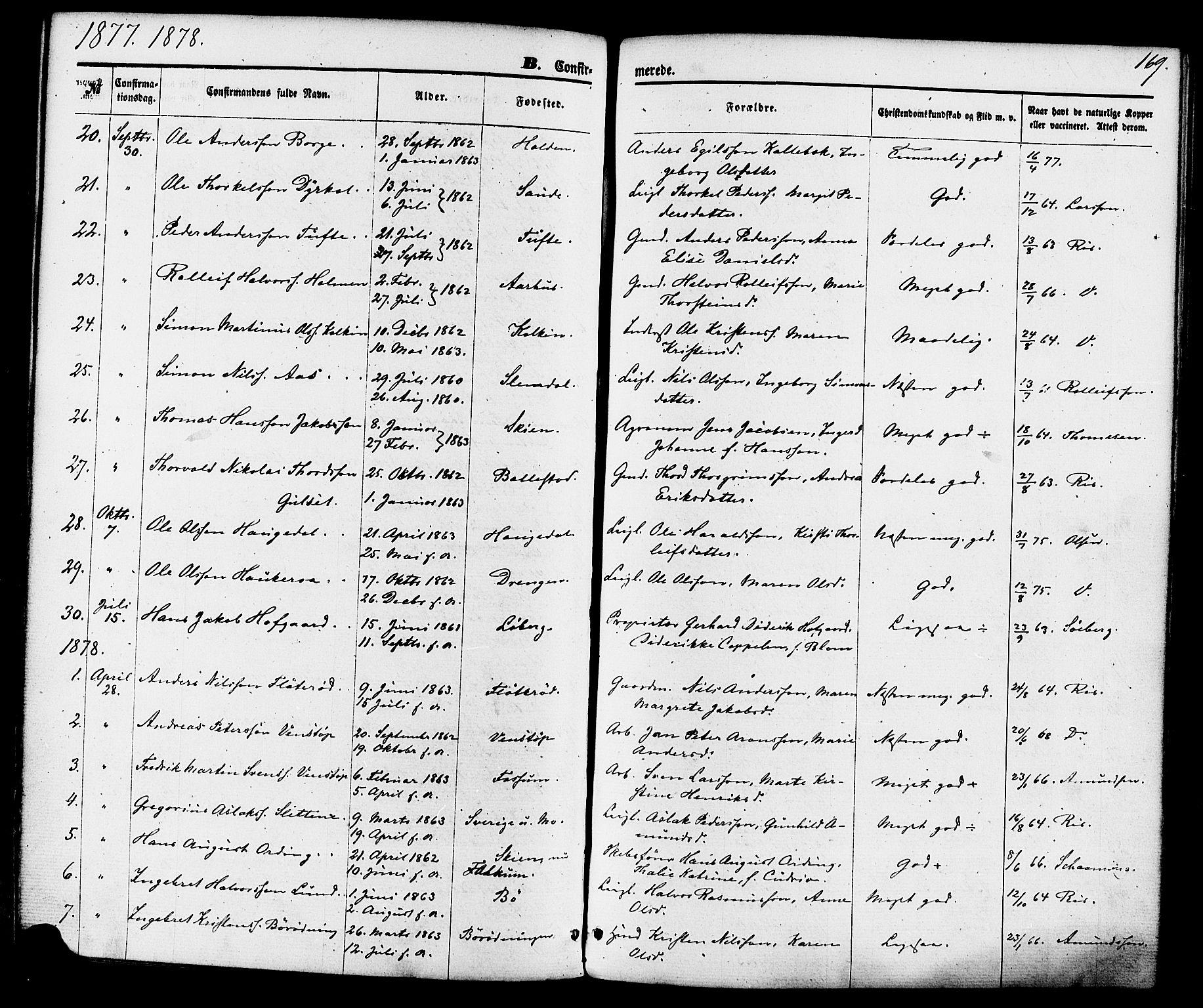 SAKO, Gjerpen kirkebøker, F/Fa/L0009: Ministerialbok nr. 9, 1872-1885, s. 169