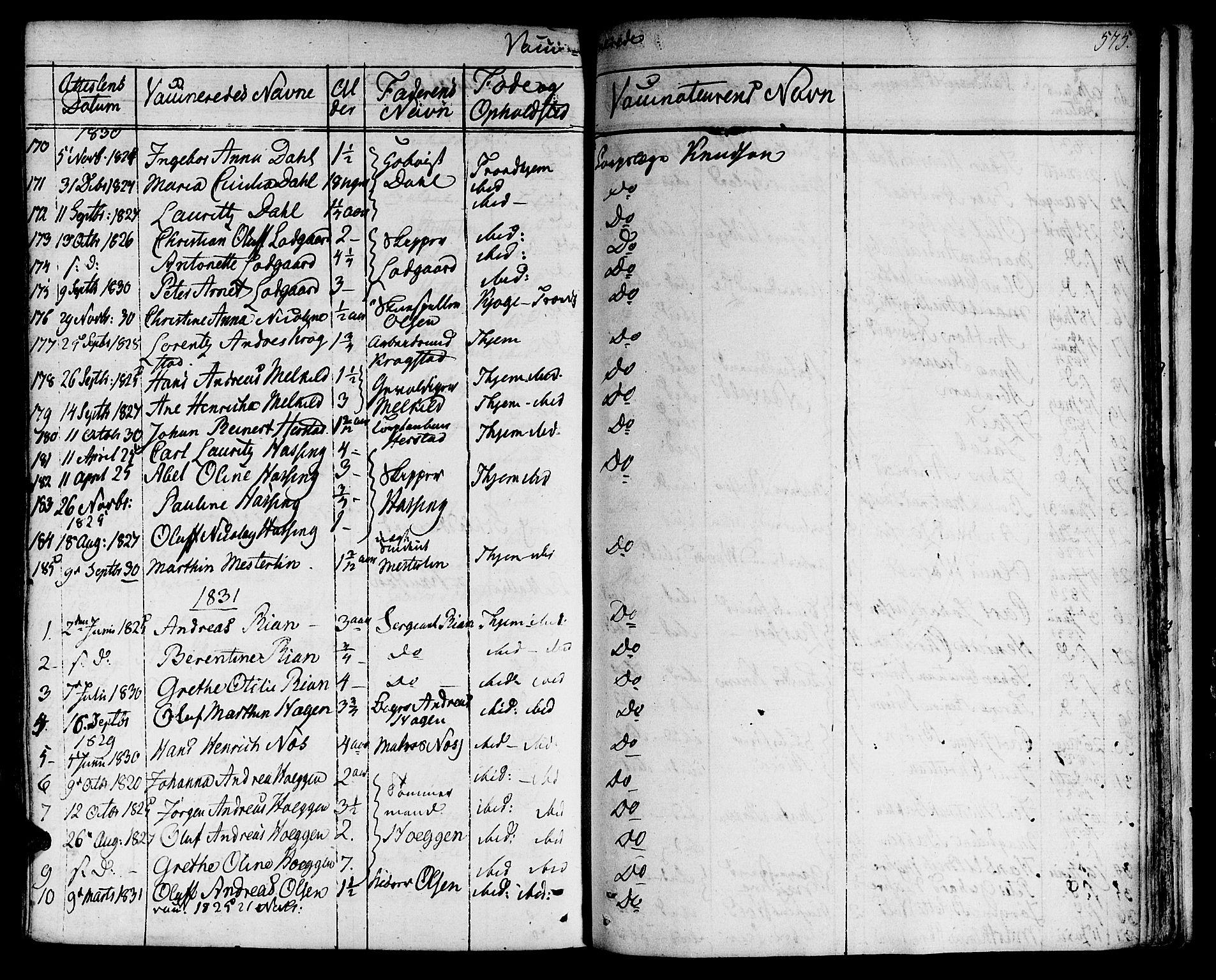 SAT, Ministerialprotokoller, klokkerbøker og fødselsregistre - Sør-Trøndelag, 601/L0045: Ministerialbok nr. 601A13, 1821-1831, s. 575
