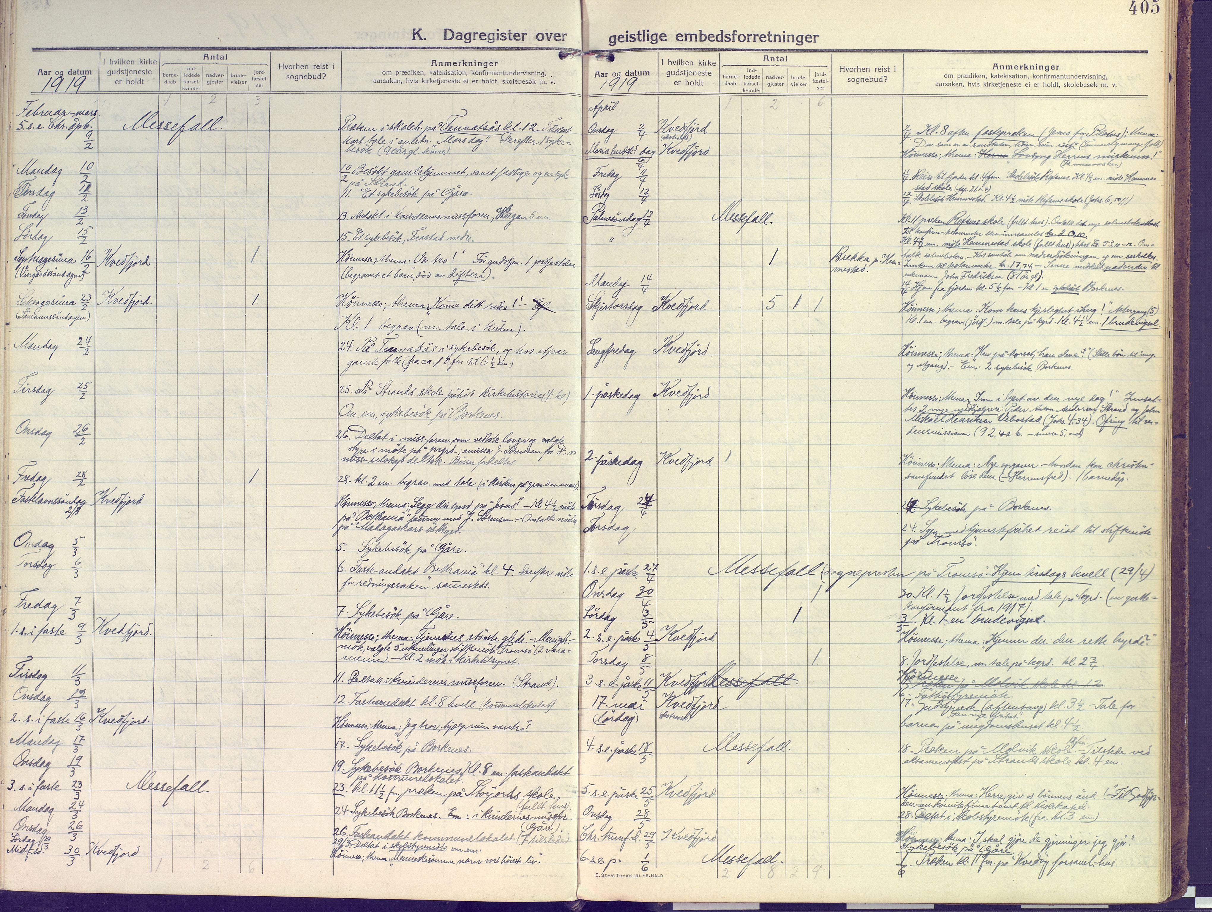 SATØ, Kvæfjord sokneprestkontor, G/Ga/Gaa/L0007kirke: Ministerialbok nr. 7, 1915-1931, s. 405