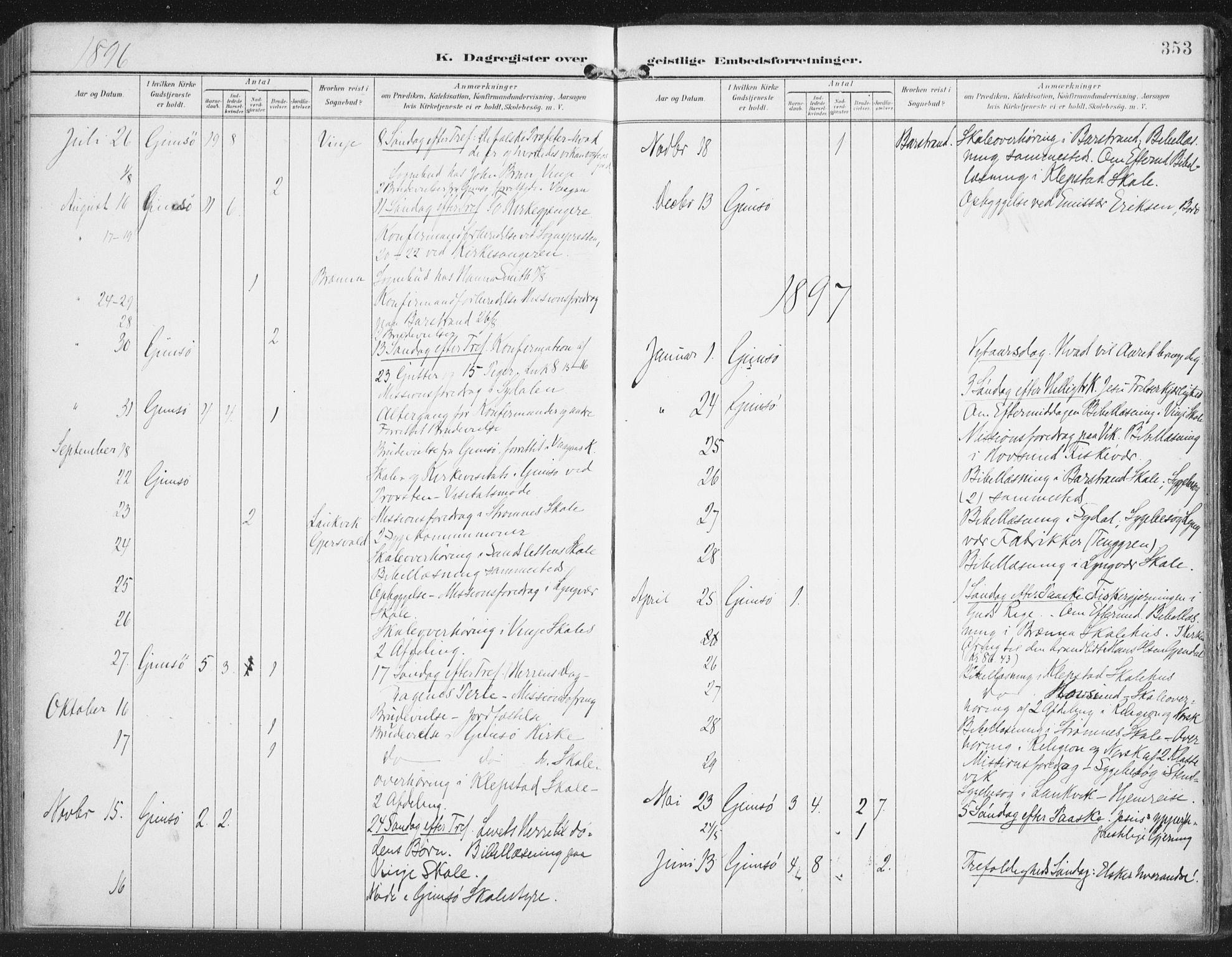 SAT, Ministerialprotokoller, klokkerbøker og fødselsregistre - Nordland, 876/L1098: Ministerialbok nr. 876A04, 1896-1915, s. 353