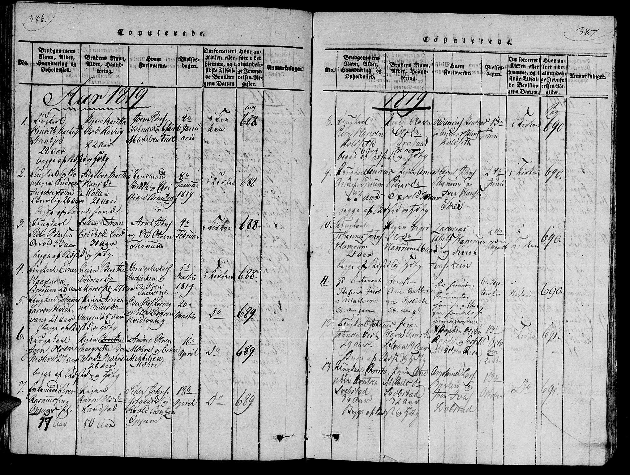 SAT, Ministerialprotokoller, klokkerbøker og fødselsregistre - Nord-Trøndelag, 735/L0333: Ministerialbok nr. 735A04 /1, 1816-1824, s. 386-387